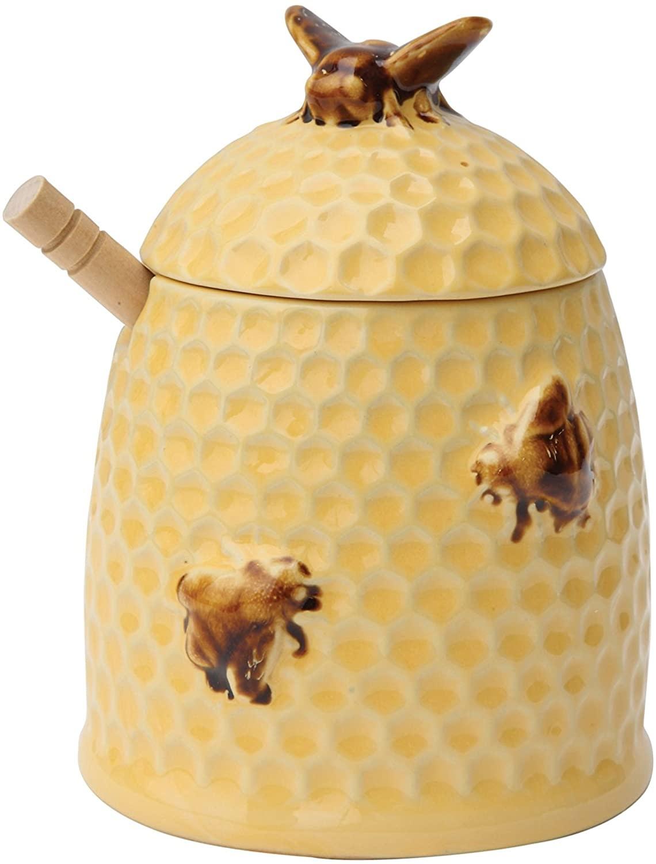 "6"" Tall Beehive Honey Jar w/ Dipper"