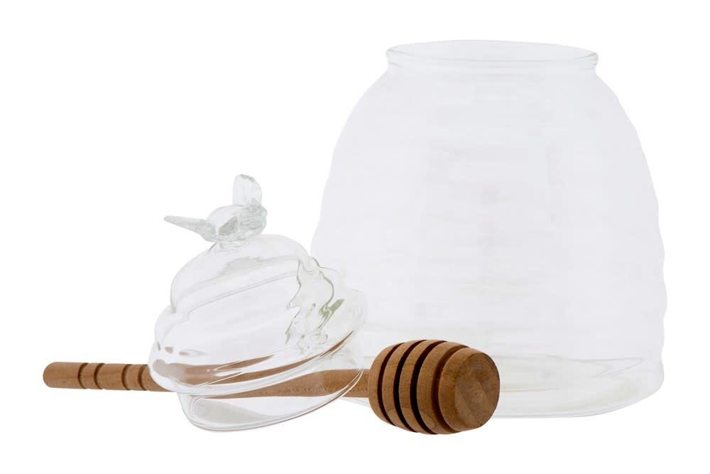 """5"""" Tall Glass Honey Jar w/ Dipper"""