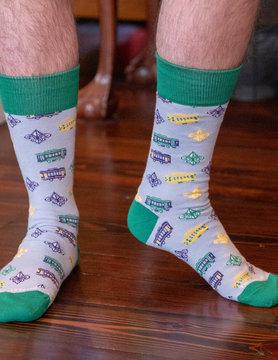 Men's Streetcar Socks Purple/Green/Yellow
