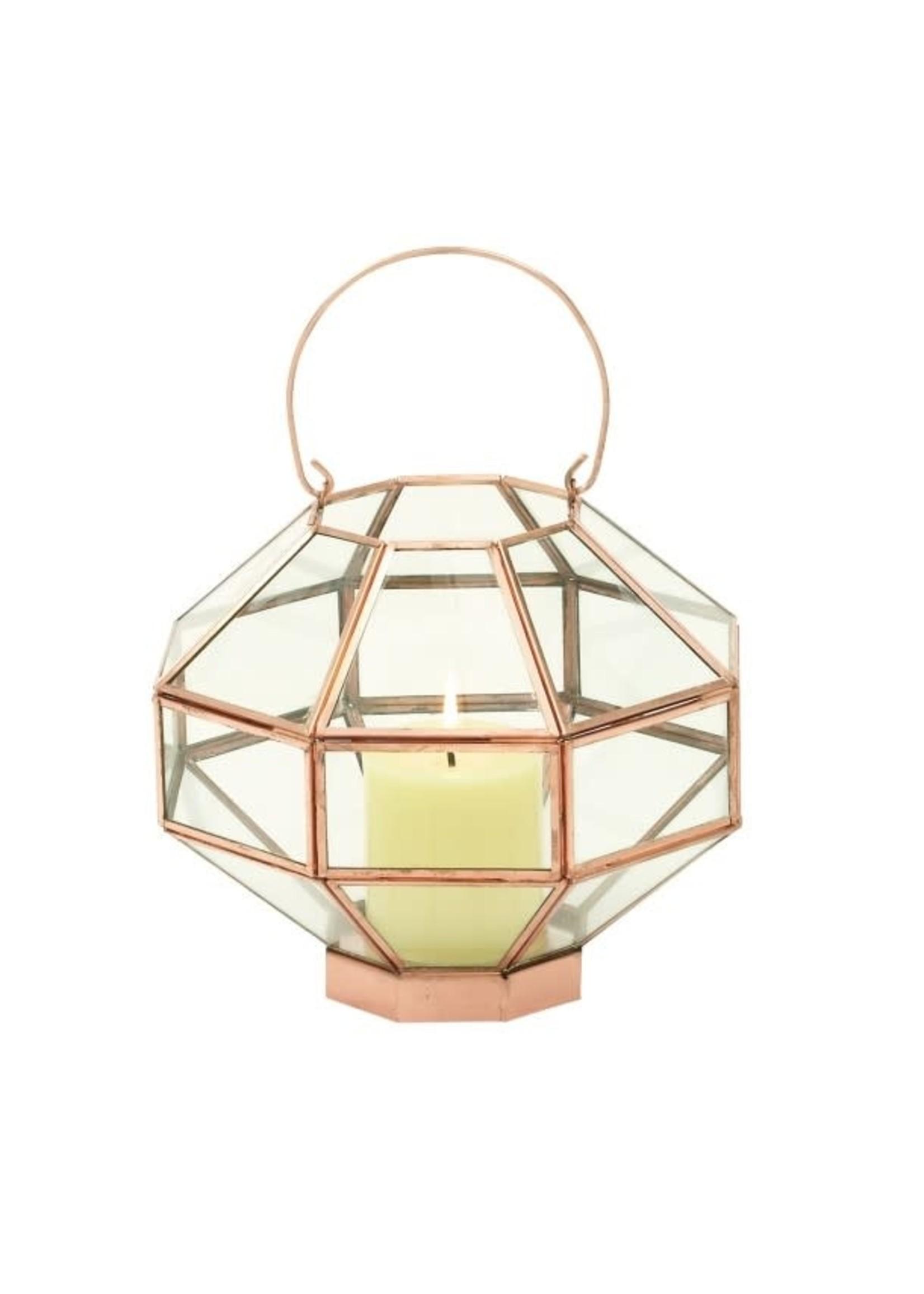 UMA Enterprises Glass with  Copper Trim Mirror Lantern