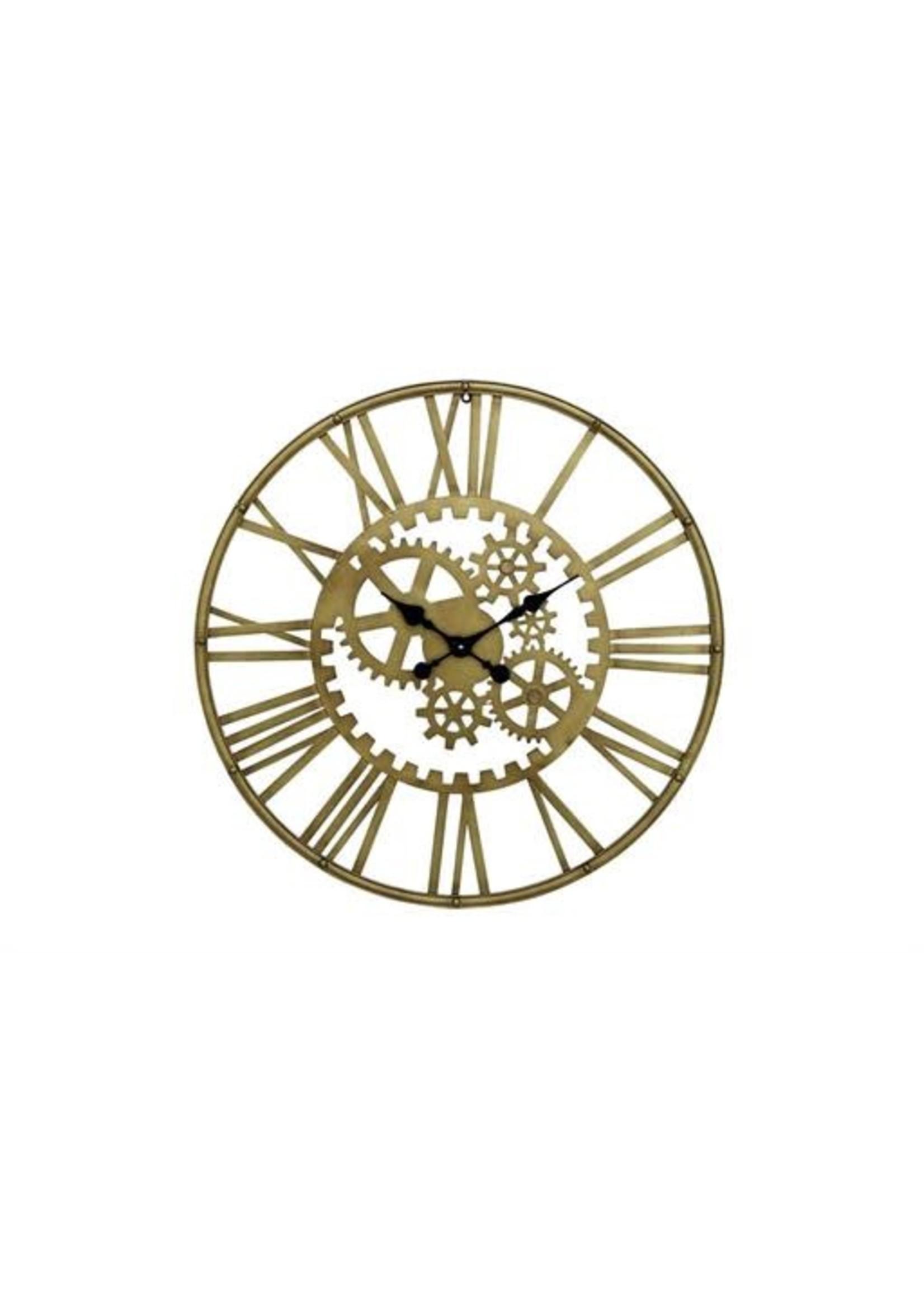 UMA Enterprises Metal Gold Gear Wall Clock