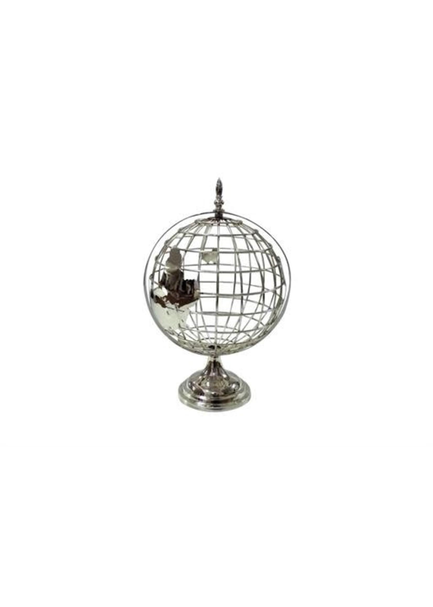 "UMA Enterprises Silver Mtl Globe 20"""