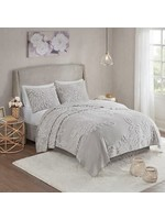 Olliix Veronica 3pc Tufted Cotton Chenille Floral King Grey White