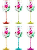 Home Essentials Handpainted Flamingo Goblets 6 Assorted 12oz
