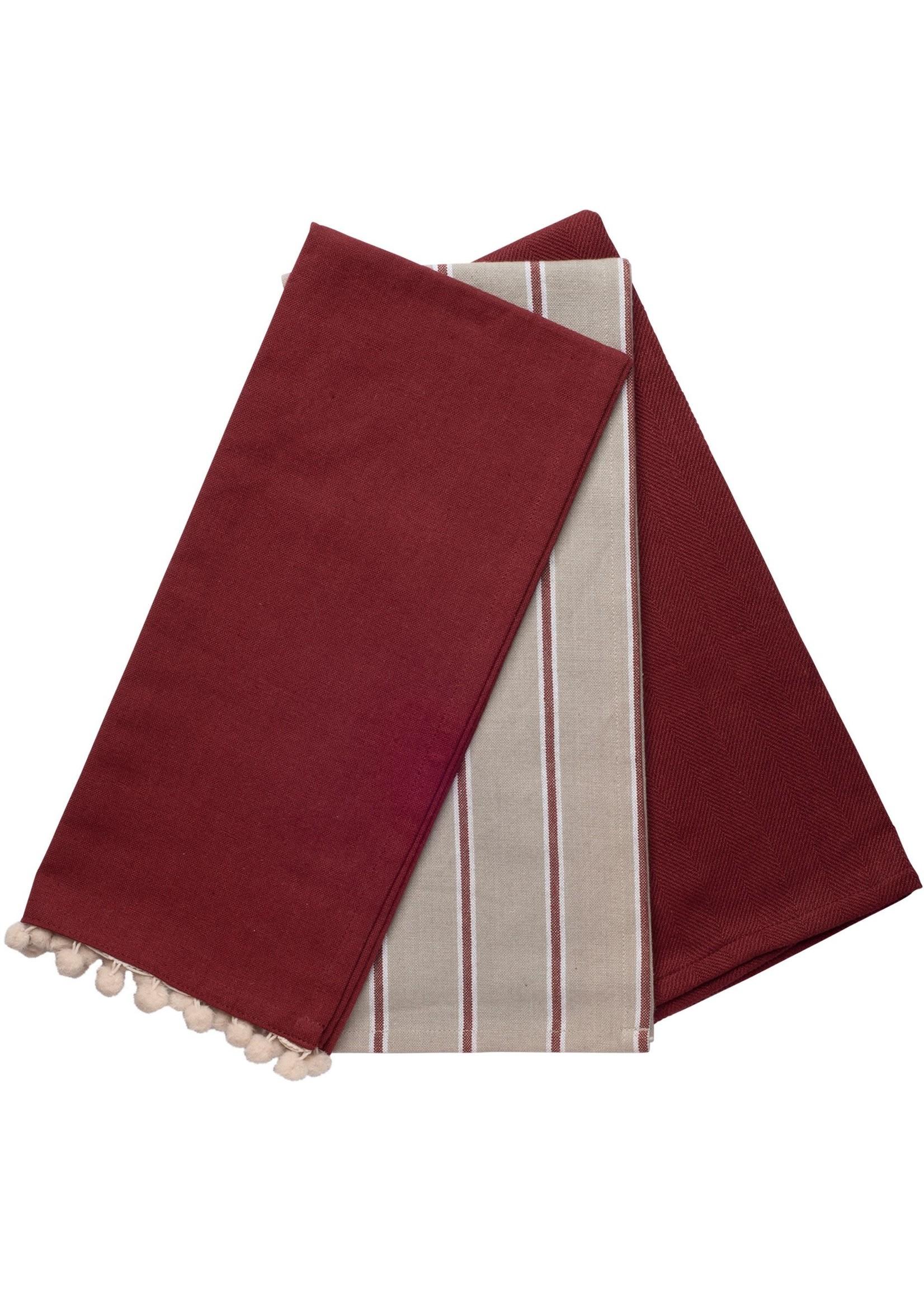 Home Essentials Stripe Mix Pompeian Red Combo Kitchen Towel 3 Pk