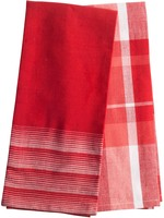 Home Essentials Horizon Stripe And Plaid Red Kitchen Towel Set of 2
