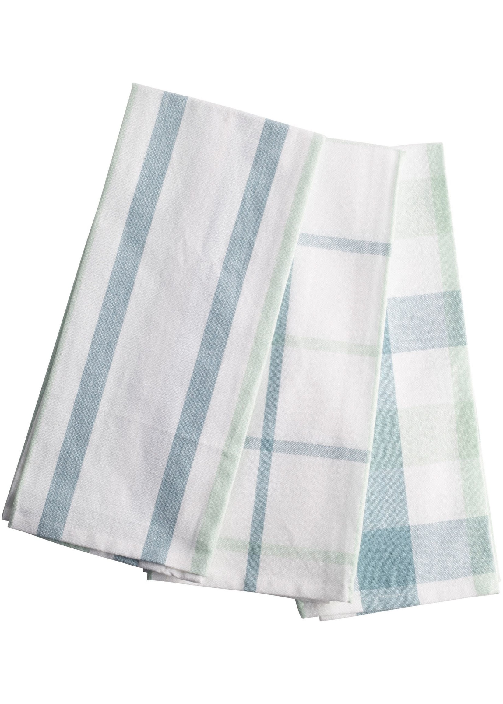 Home Essentials Kitchen Towel Stripe Plaid Smoke And Blue Pack of 3