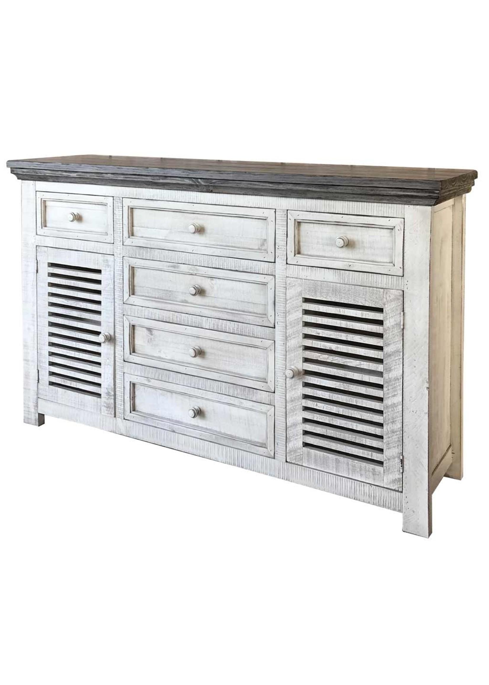 International Furniture Direct IFD470BUFFET IFD Buffet 6 Drawer & 2 Doors - white washed