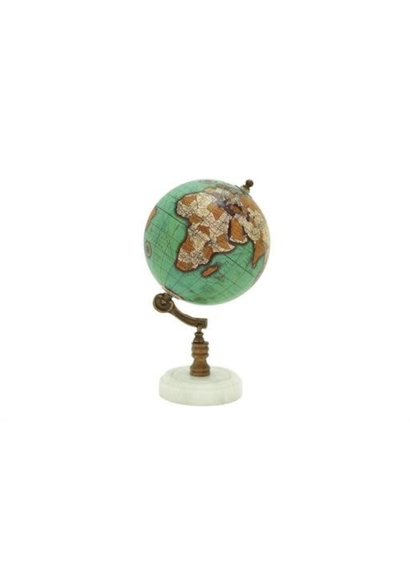 "UMA Enterprises Wood Metal Marble Globe 11"""