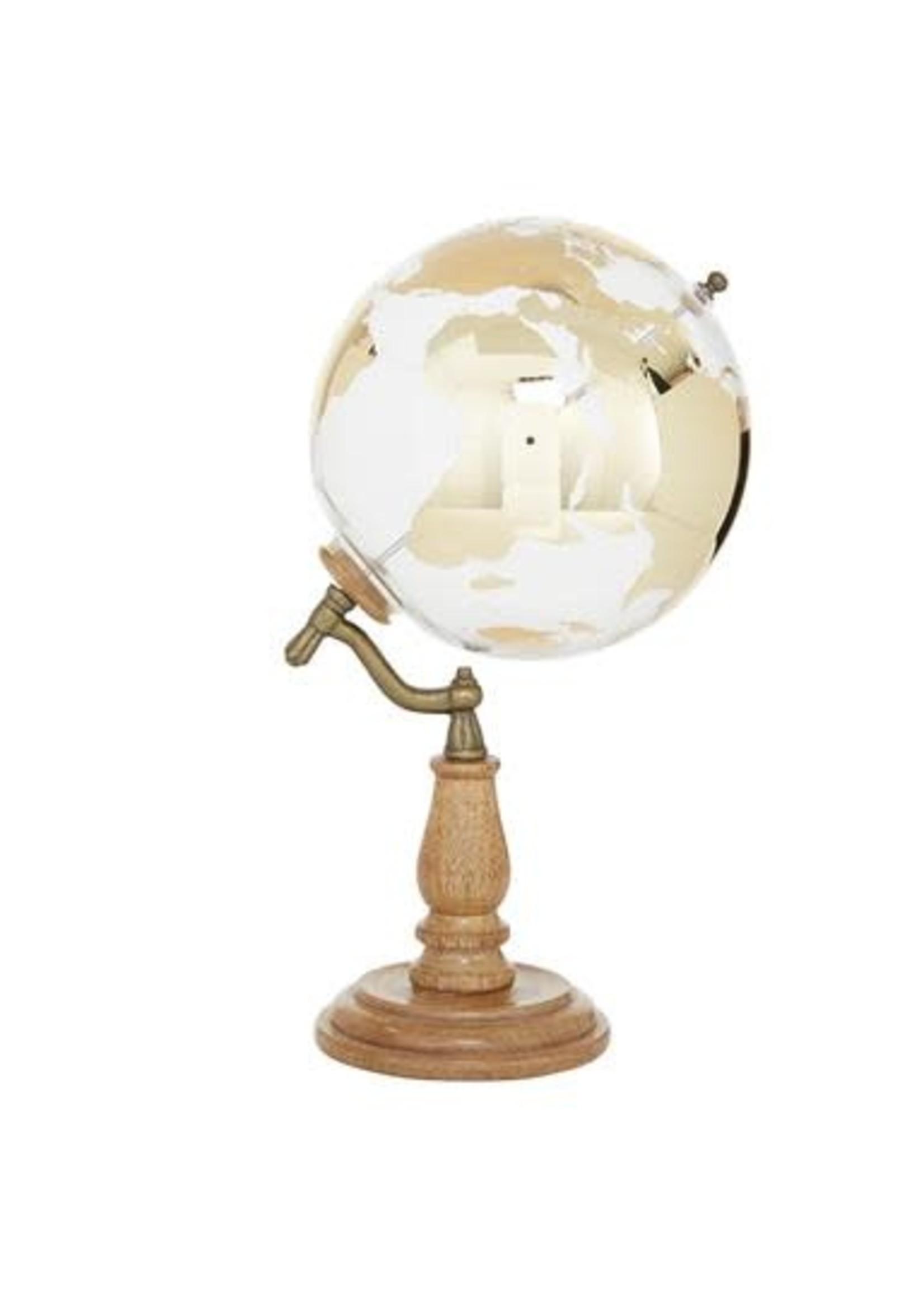 "UMA Enterprises Wood Glass Globe 15"""