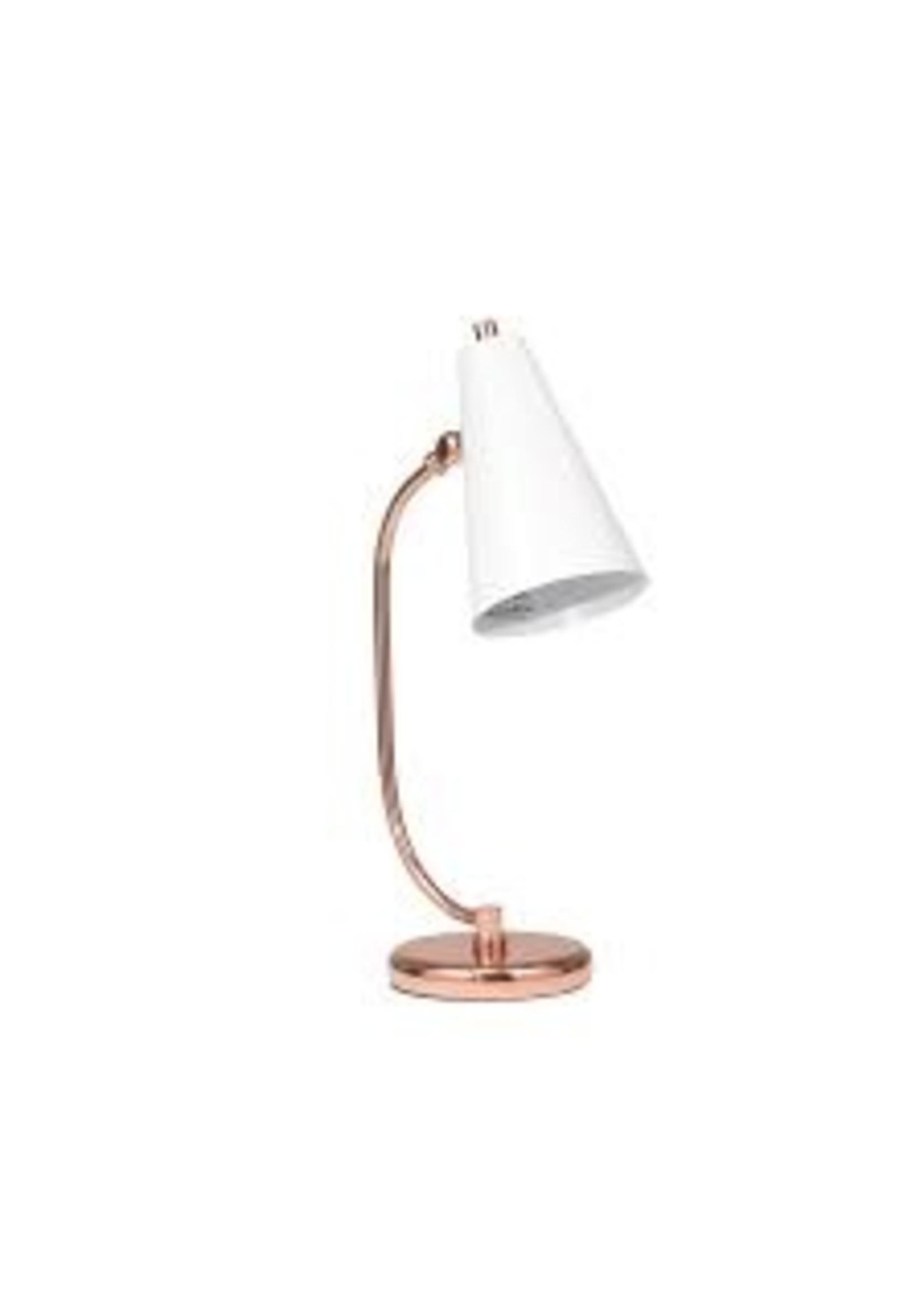 "Sagebrook Home SBH Metal Desk Lamp White Rose Gold 20"""