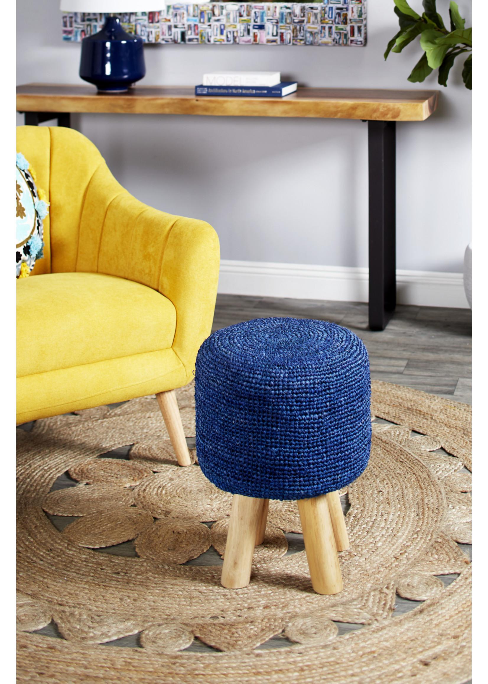 UMA Enterprises Fabric Wood Blue Stool