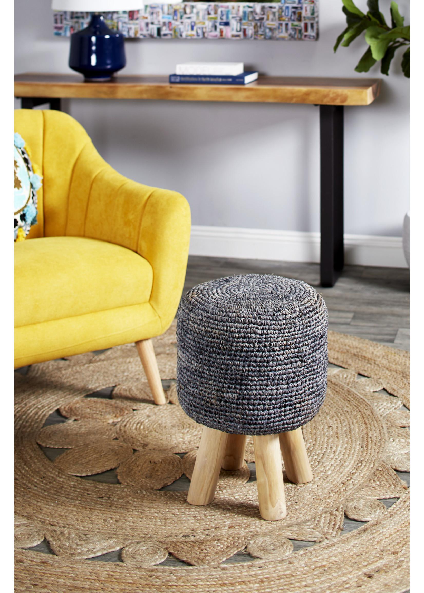 UMA Enterprises Fabric Wood Grey Stool