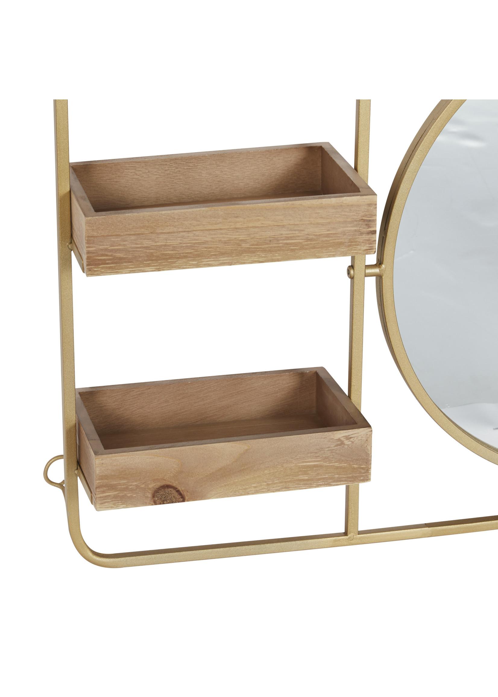 UMA Enterprises Metal Wood Wall Shelf with Mirror