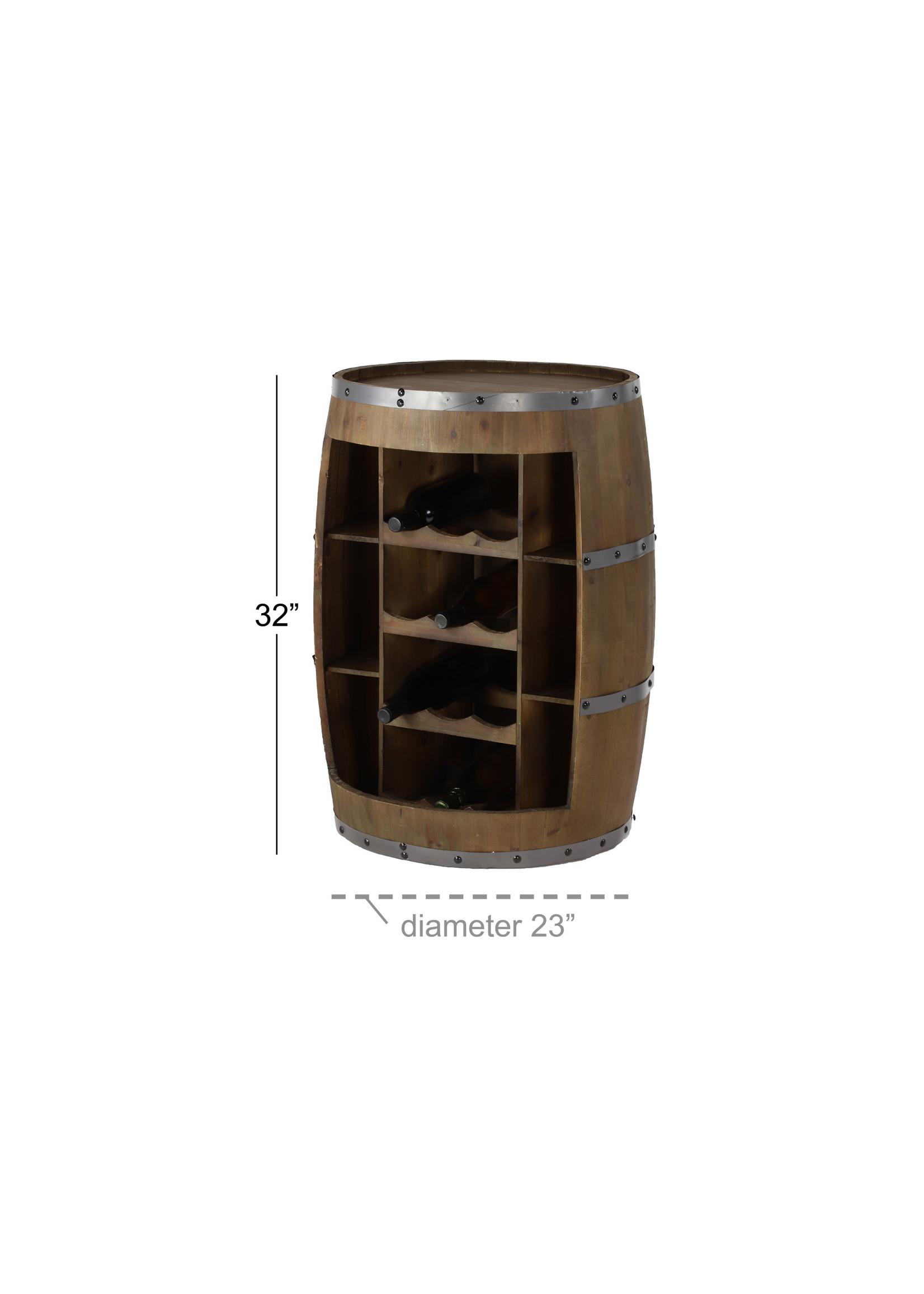 UMA Enterprises Wood Barrel Wine Holder