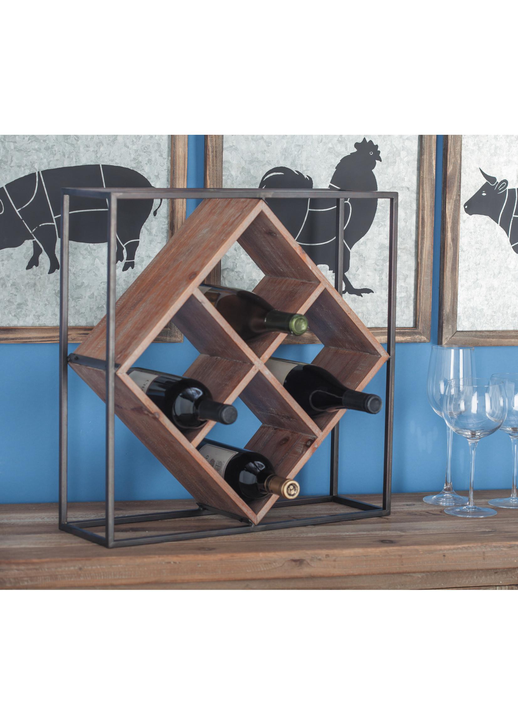 UMA Enterprises Square Metal Wood Wine Rack