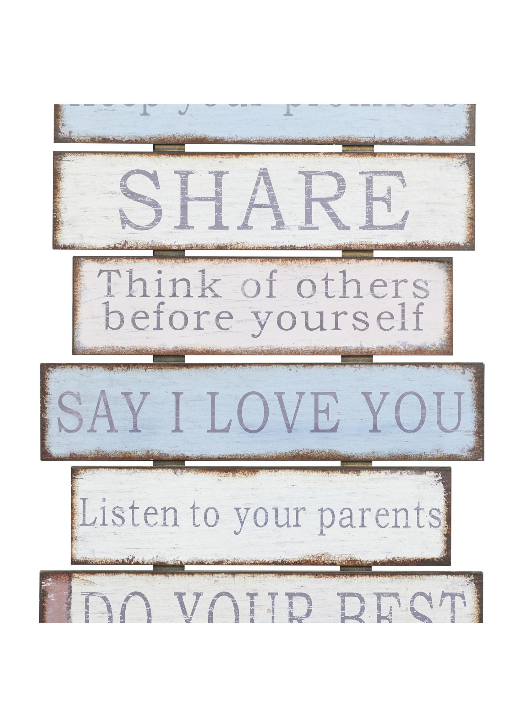 "UMA Enterprises ""Family Rules"" Wood Wall Decor"
