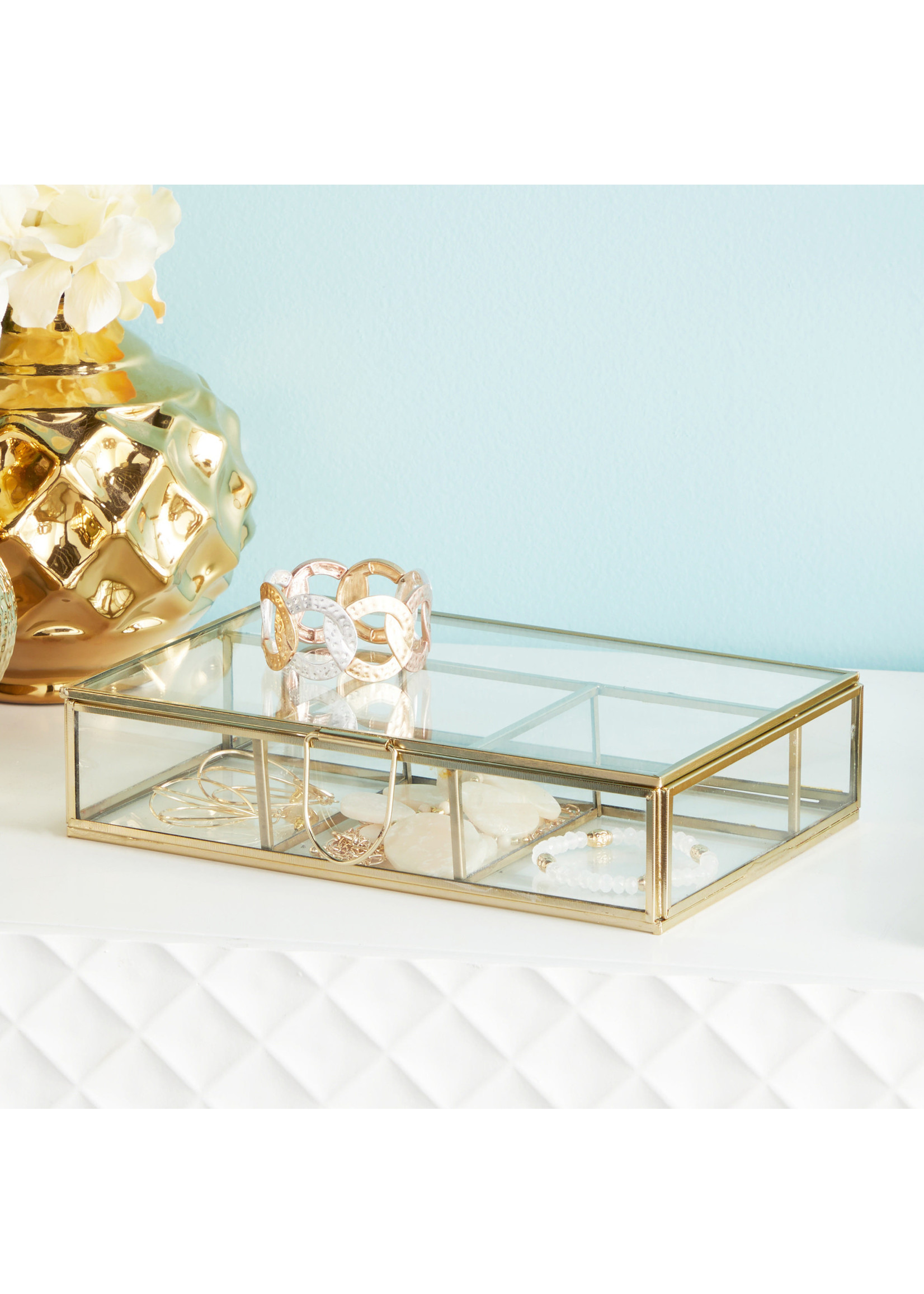 UMA Enterprises Glass Jewelry Box - Gold