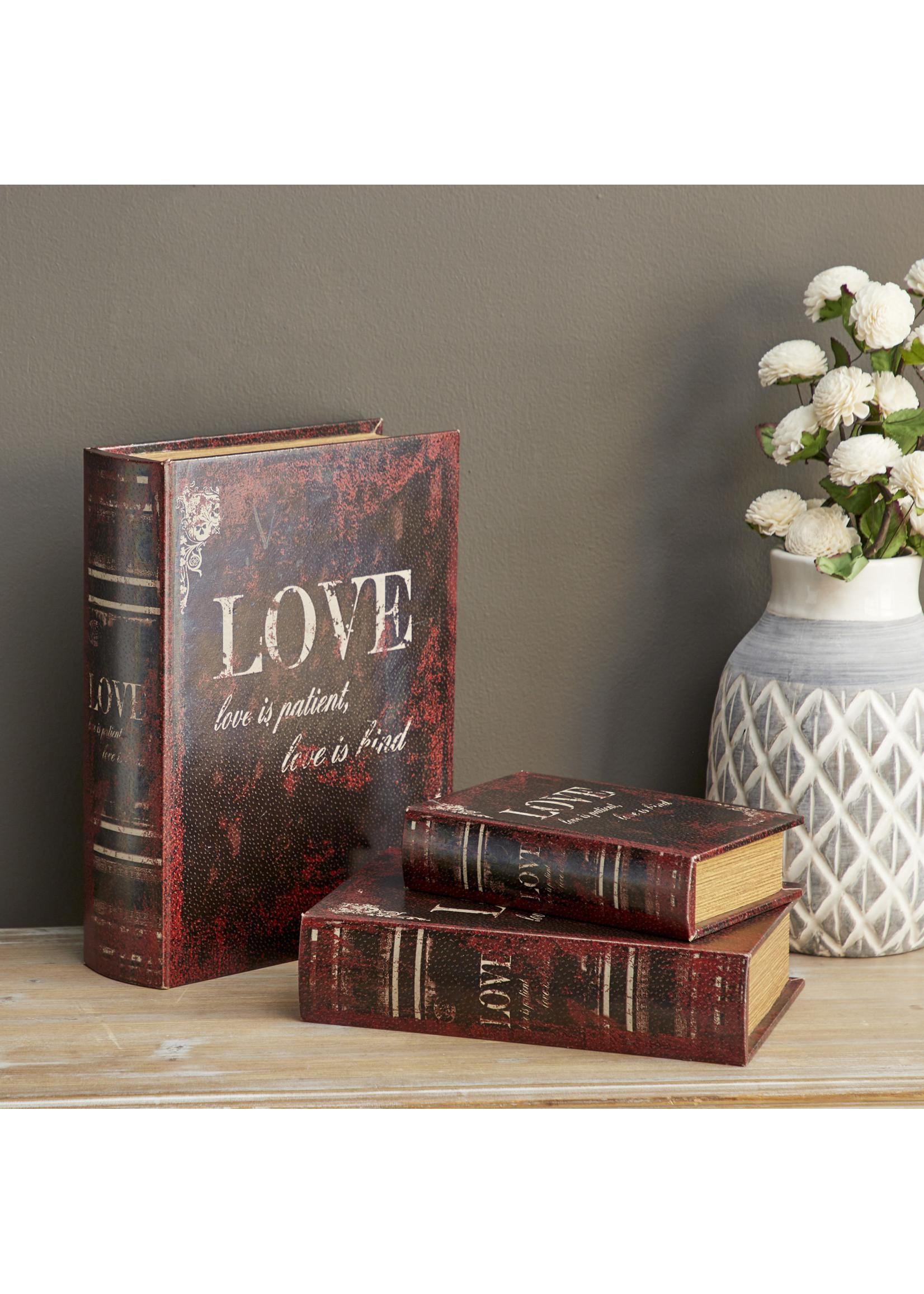 UMA Enterprises Wood Leather Book Box Set of 3