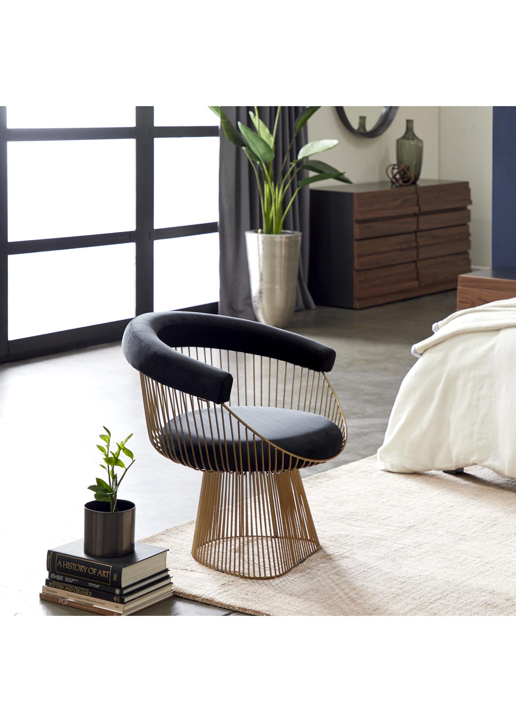 UMA Enterprises Black Velvet Chair with Gold Iron