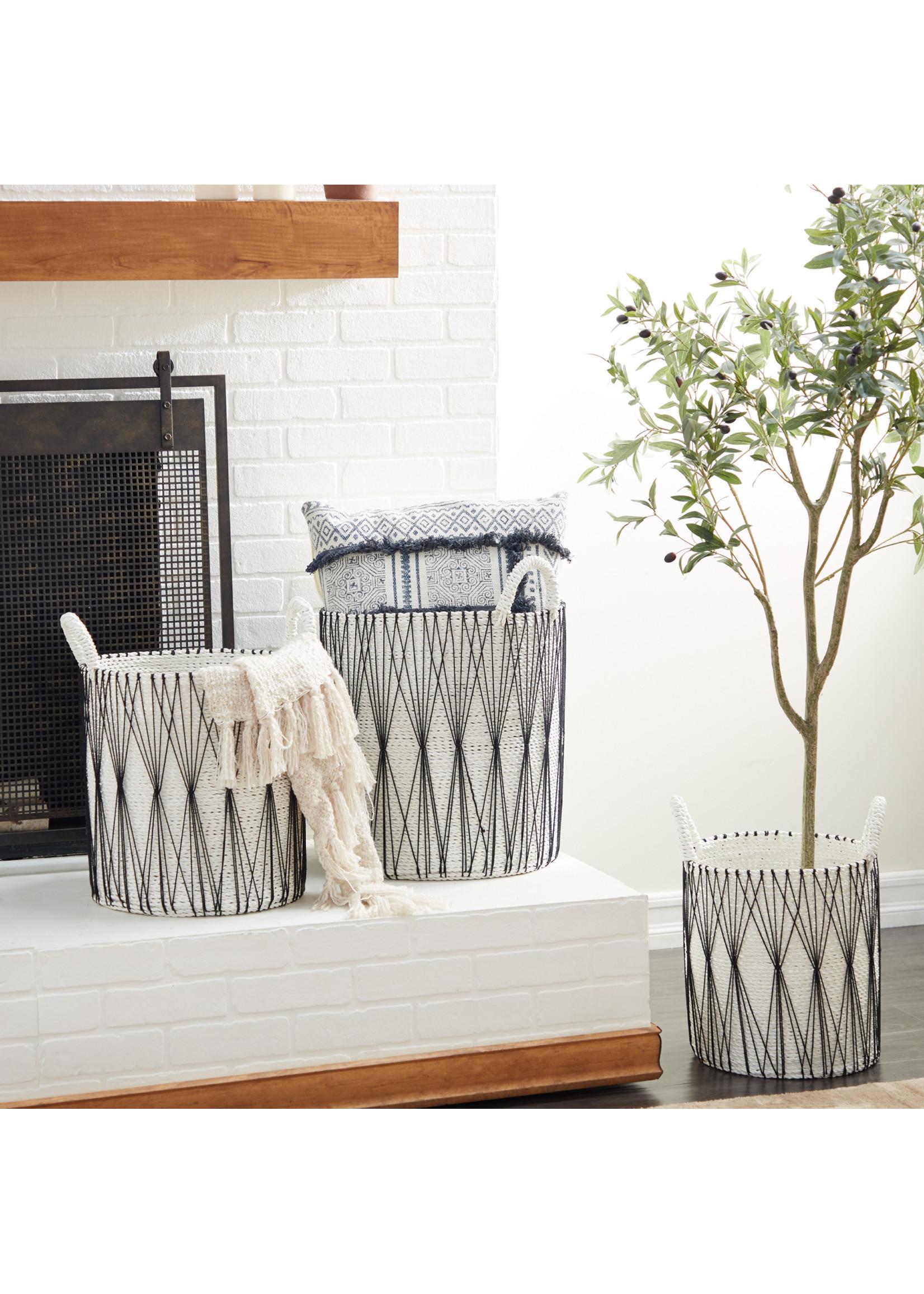 UMA Enterprises Black & White Cotton Basket - Medium
