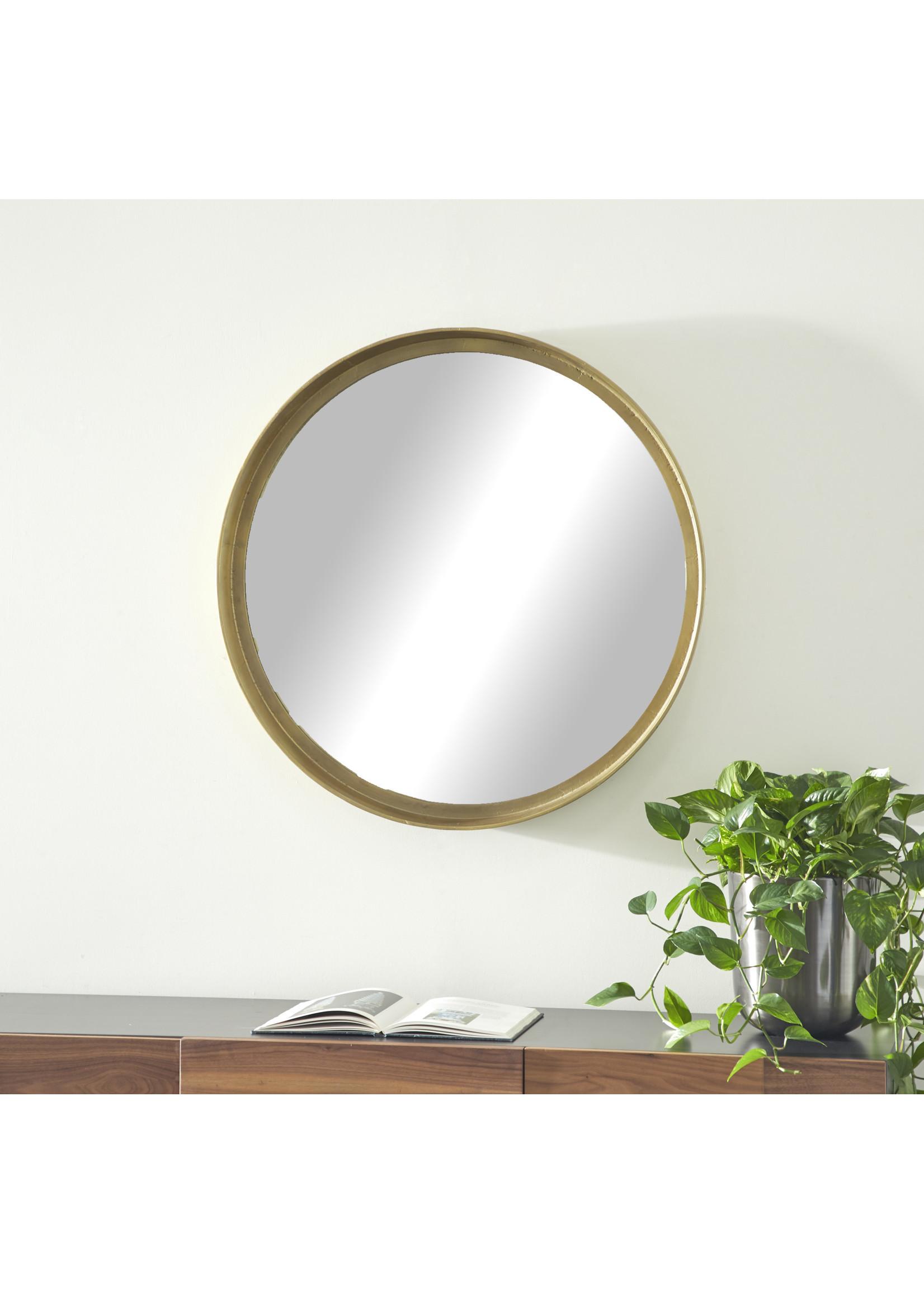 "UMA Enterprises Alum Wall Mirror Brass 36""D"