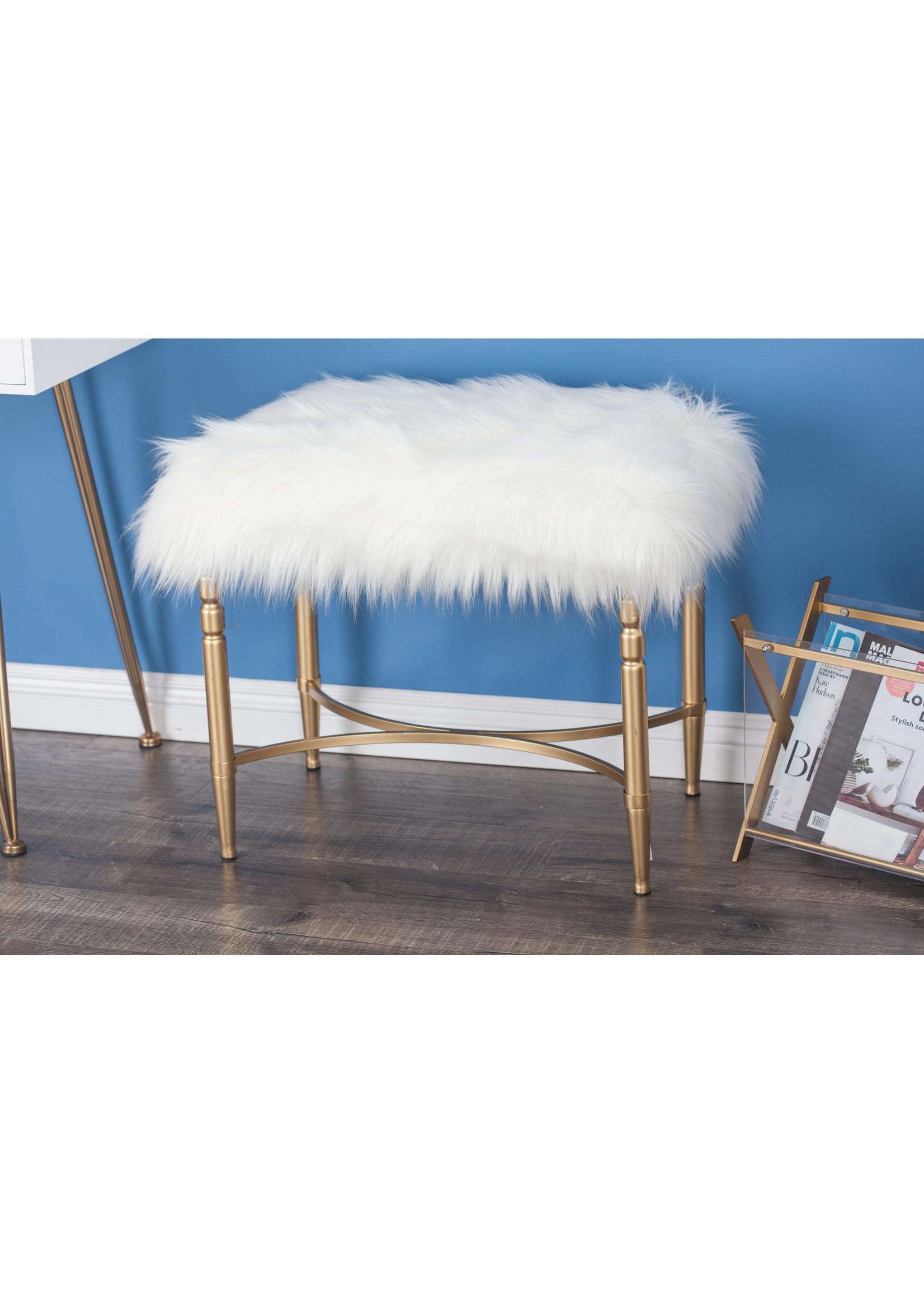 UMA Enterprises UMA White Faux Fur Stool w/Gold Leg