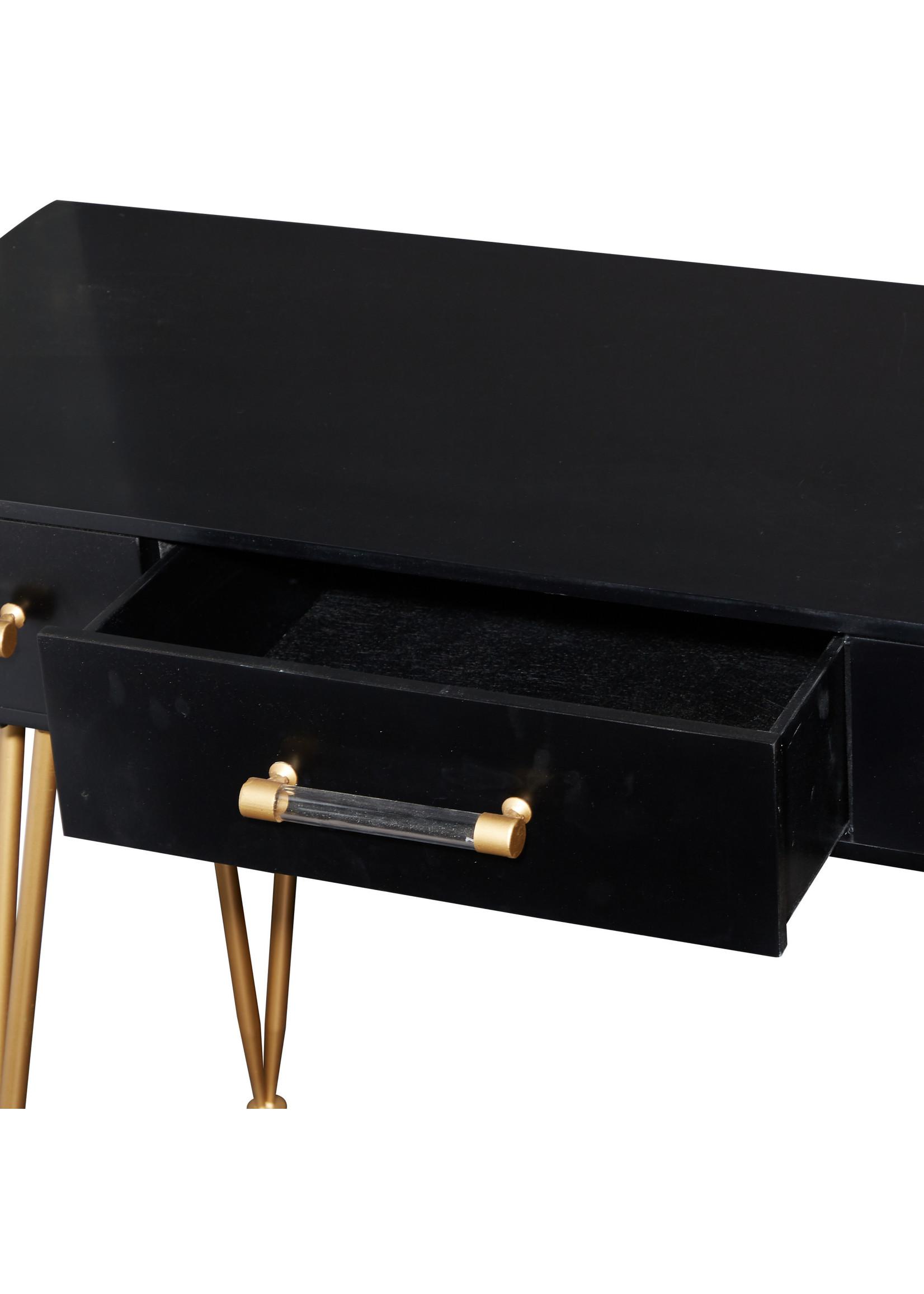 """UMA Enterprises Wood Mtl Consol Table 42"""" Black"""