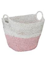 UMA Enterprises Seagrass Basket Pink & White