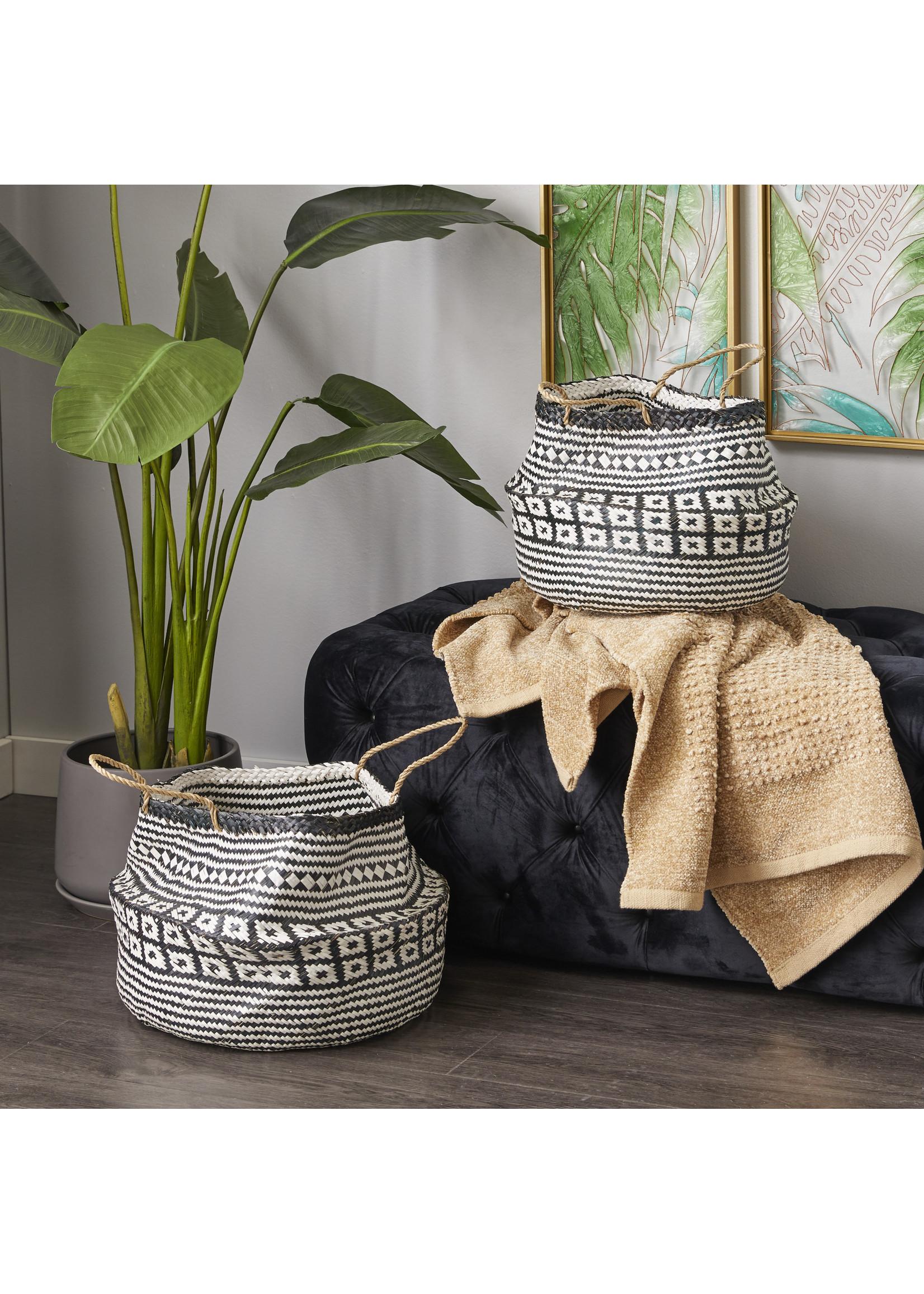 UMA Enterprises Seagrass Basket Black Design - Large
