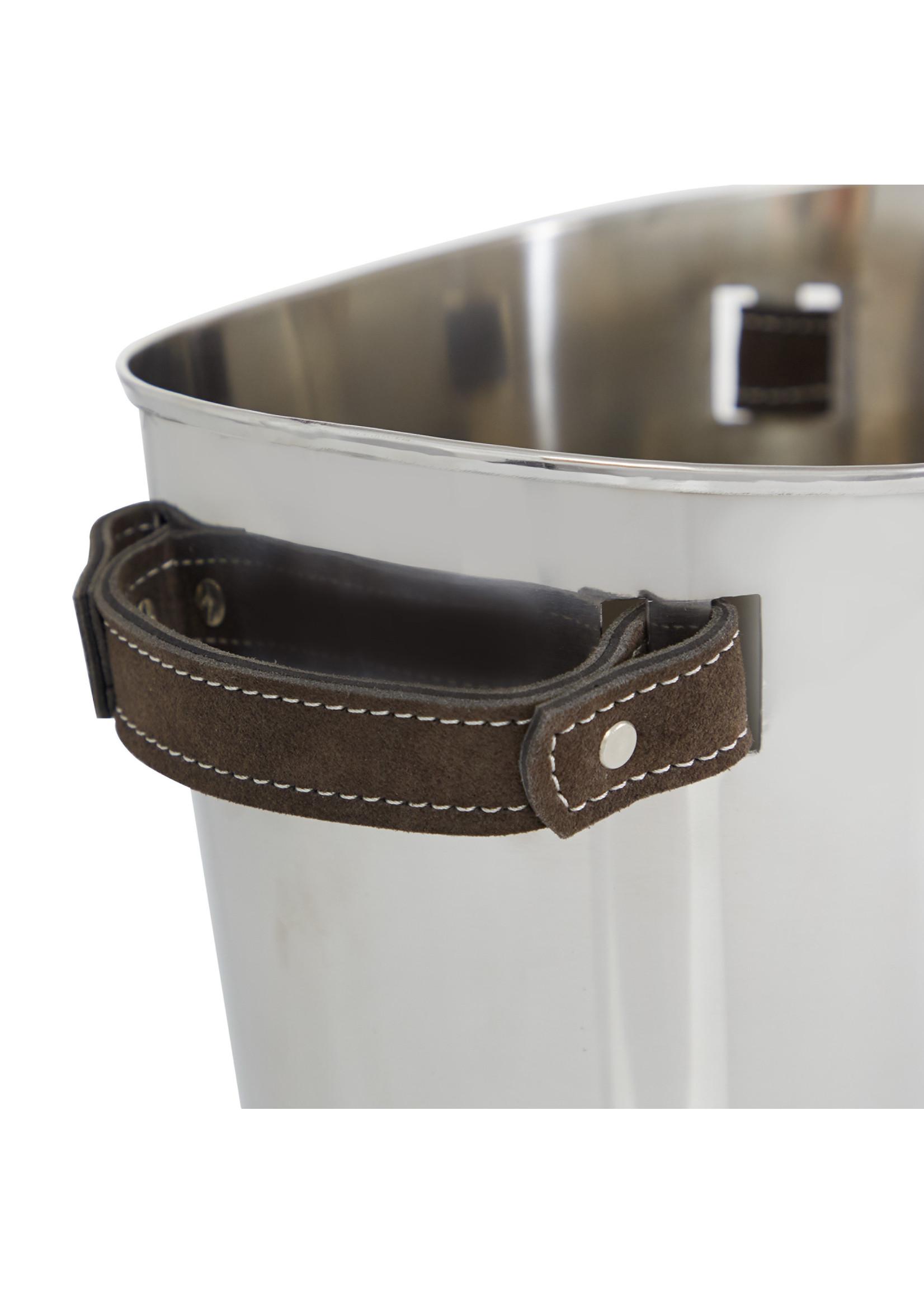 UMA Enterprises Black Leather Handle Wine Bucket