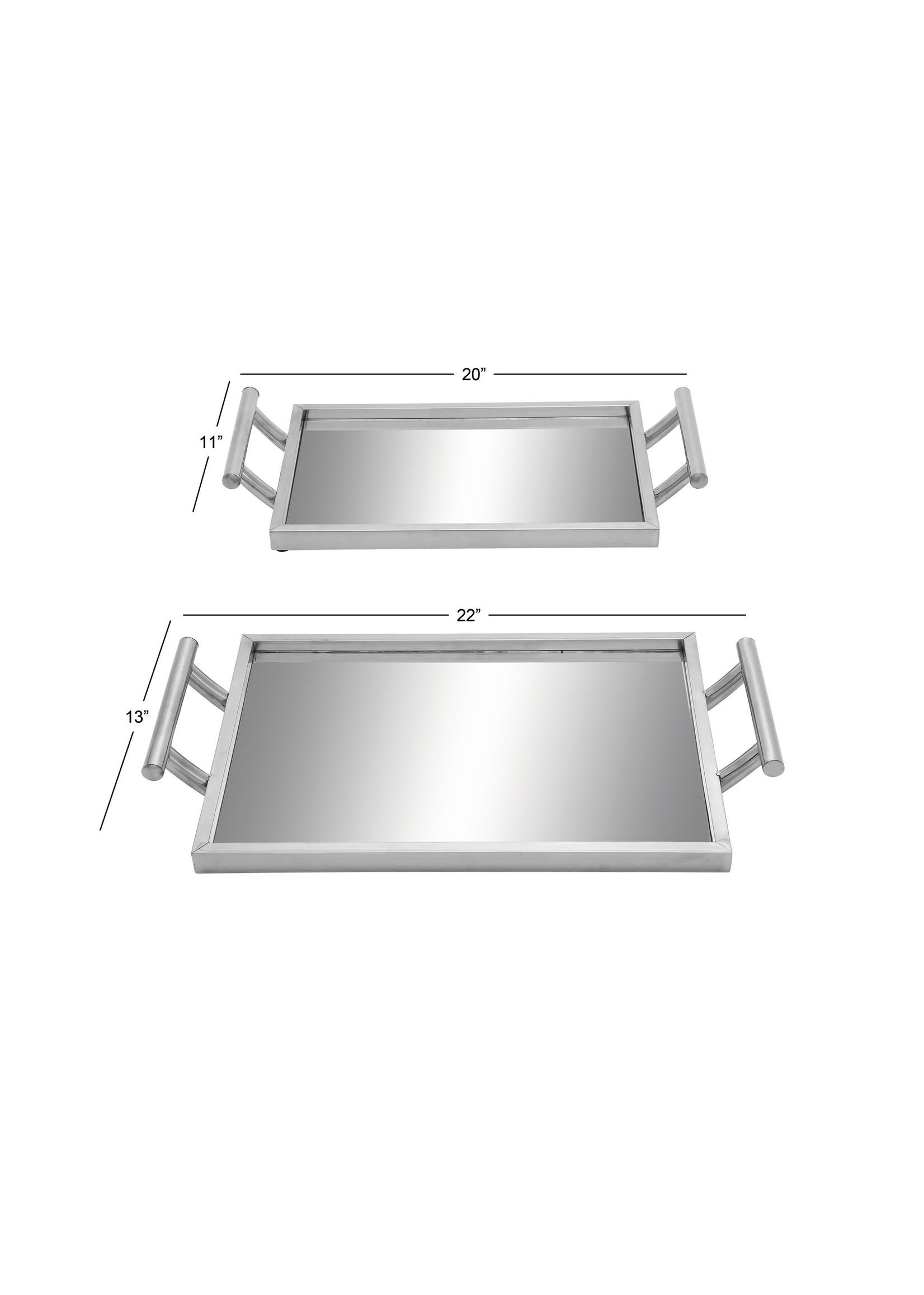 UMA Enterprises Metal Glass Mirror Tray - Small