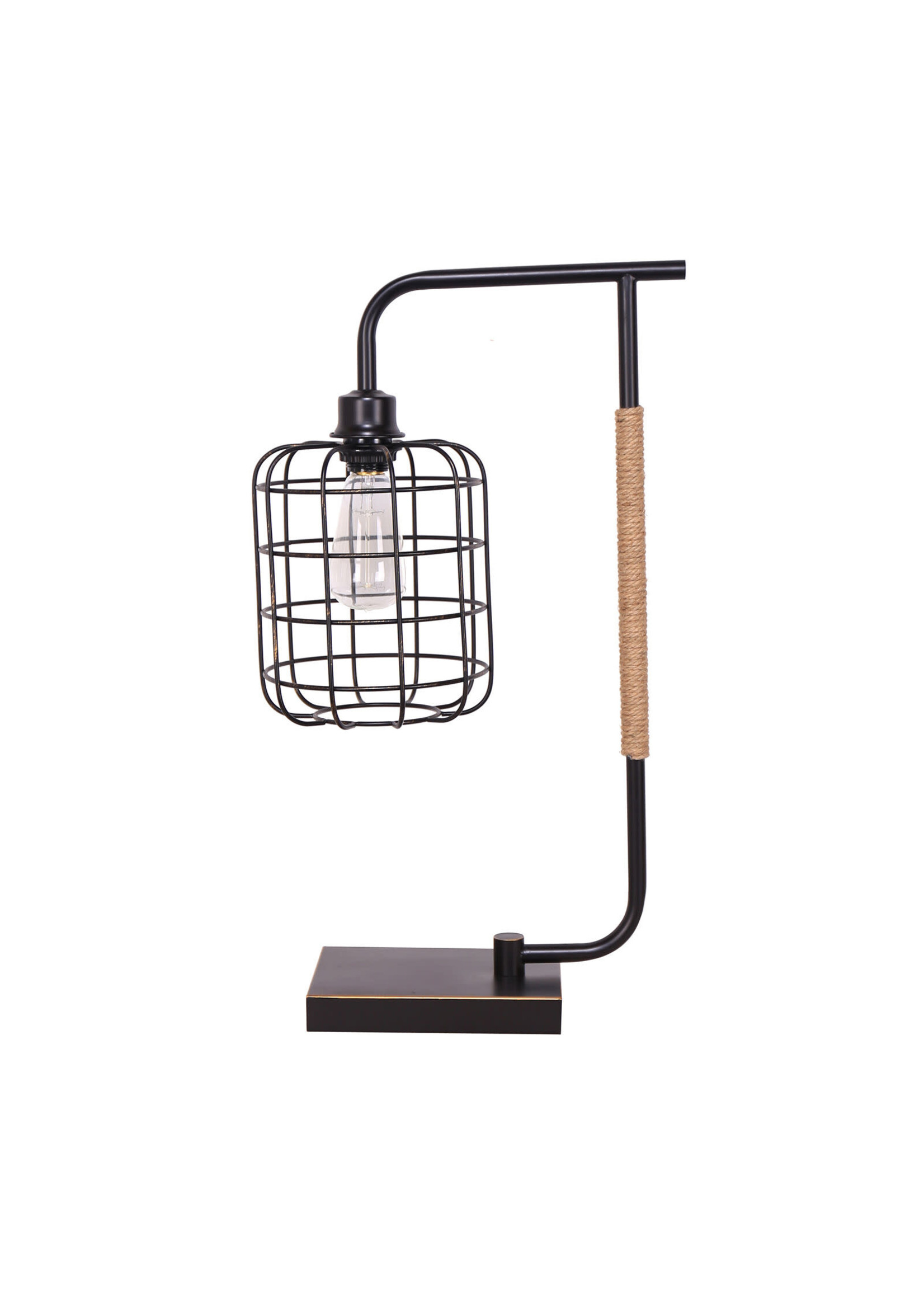 "Sagebrook Home Metal Desk Lamp w/Cage Shade Black 22"""