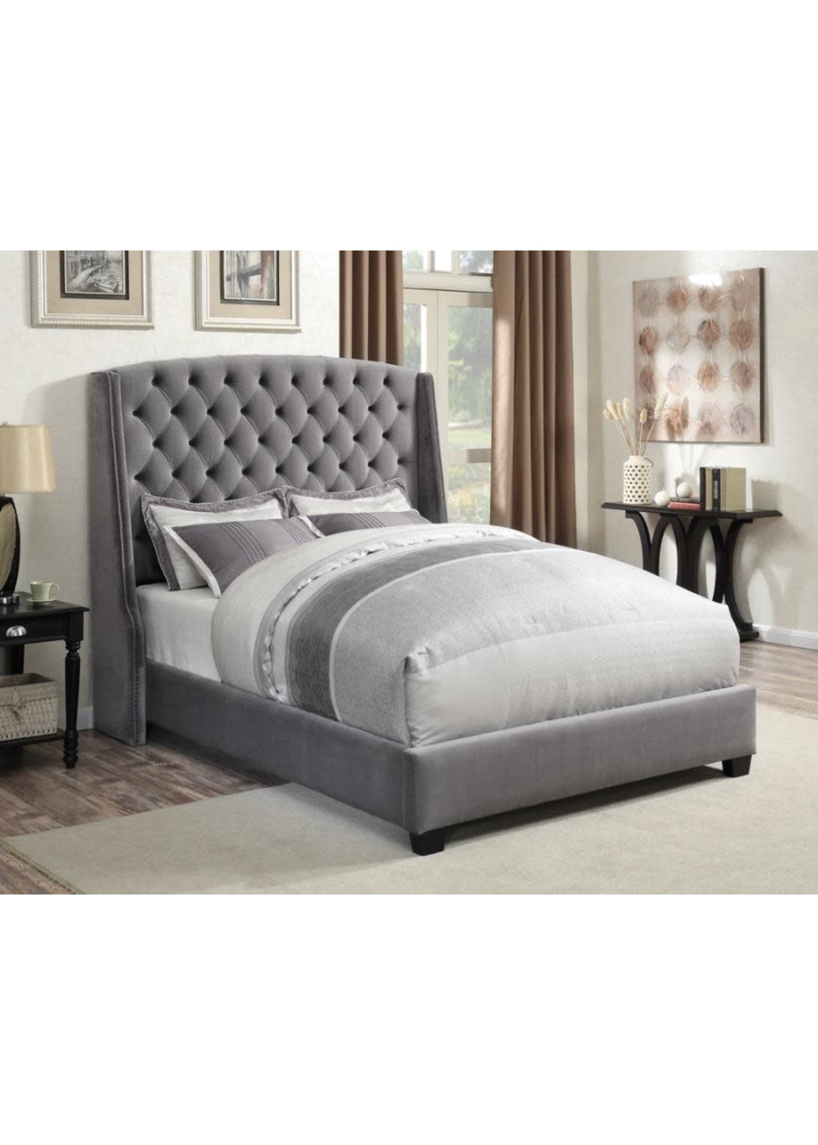 Coaster Furniture Pissarro  Queen Upholstered Bed in Grey Velvet Fabric by Coaster