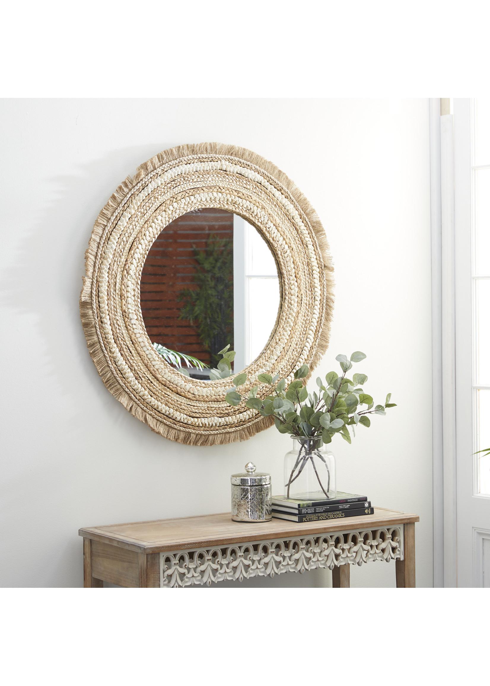 """UMA Enterprises UMA Wood Round Wall Mirror 38""""D"""