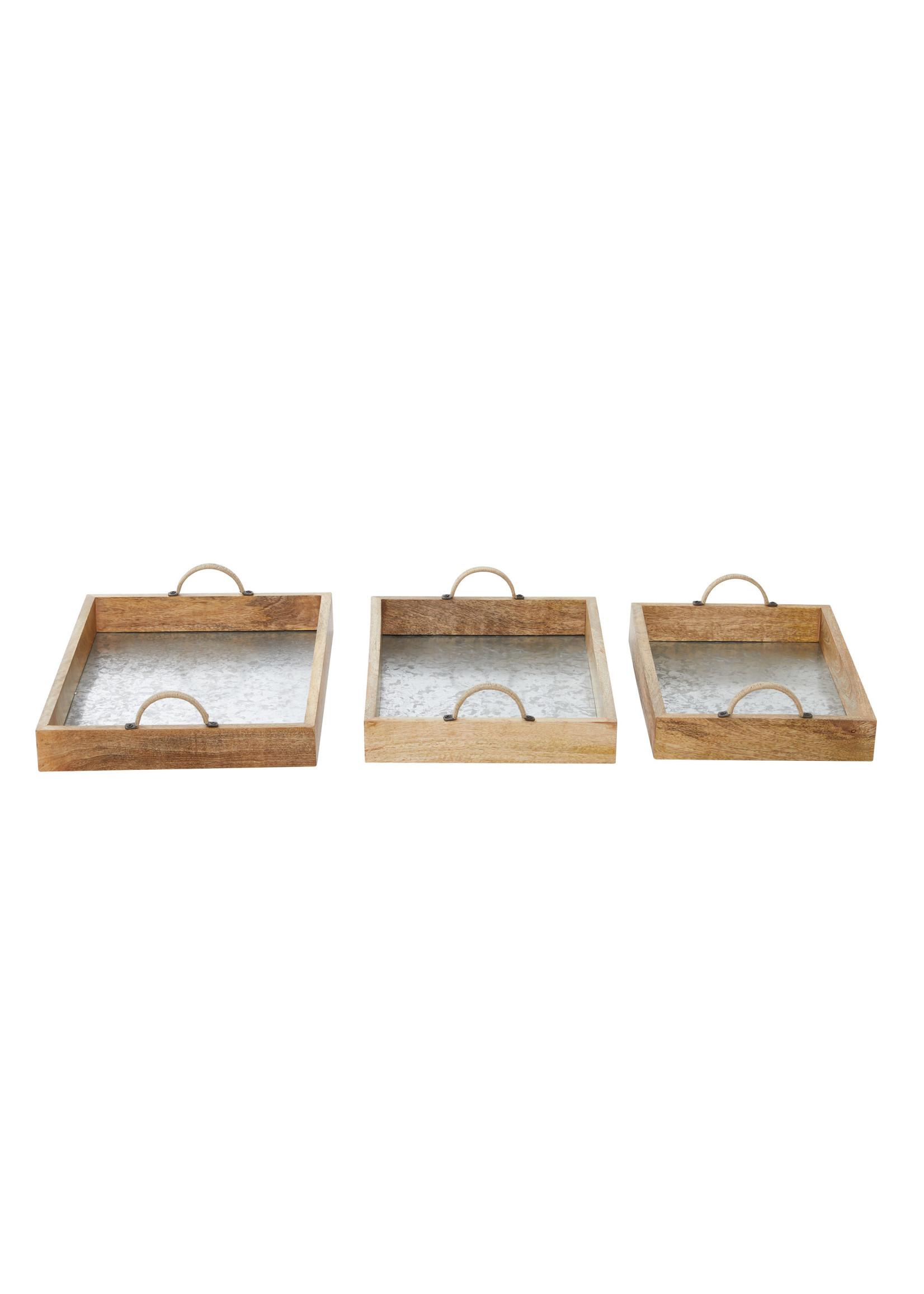 UMA Enterprises Wood Metal Tray- Small