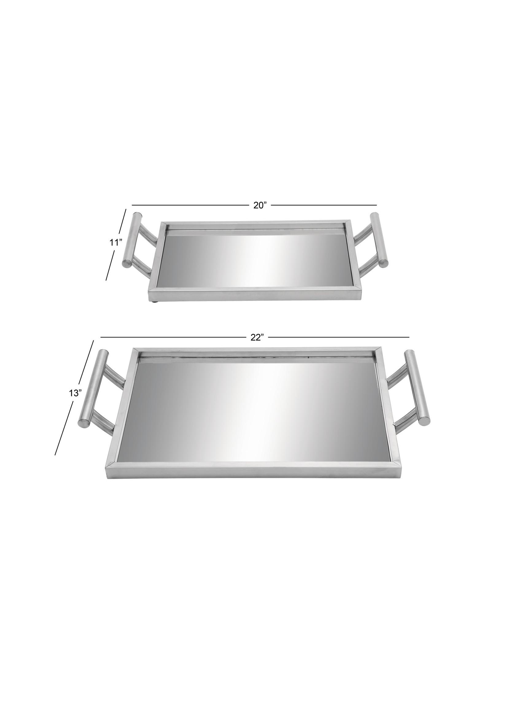 UMA Enterprises Metal Glass Mirror Tray - Large