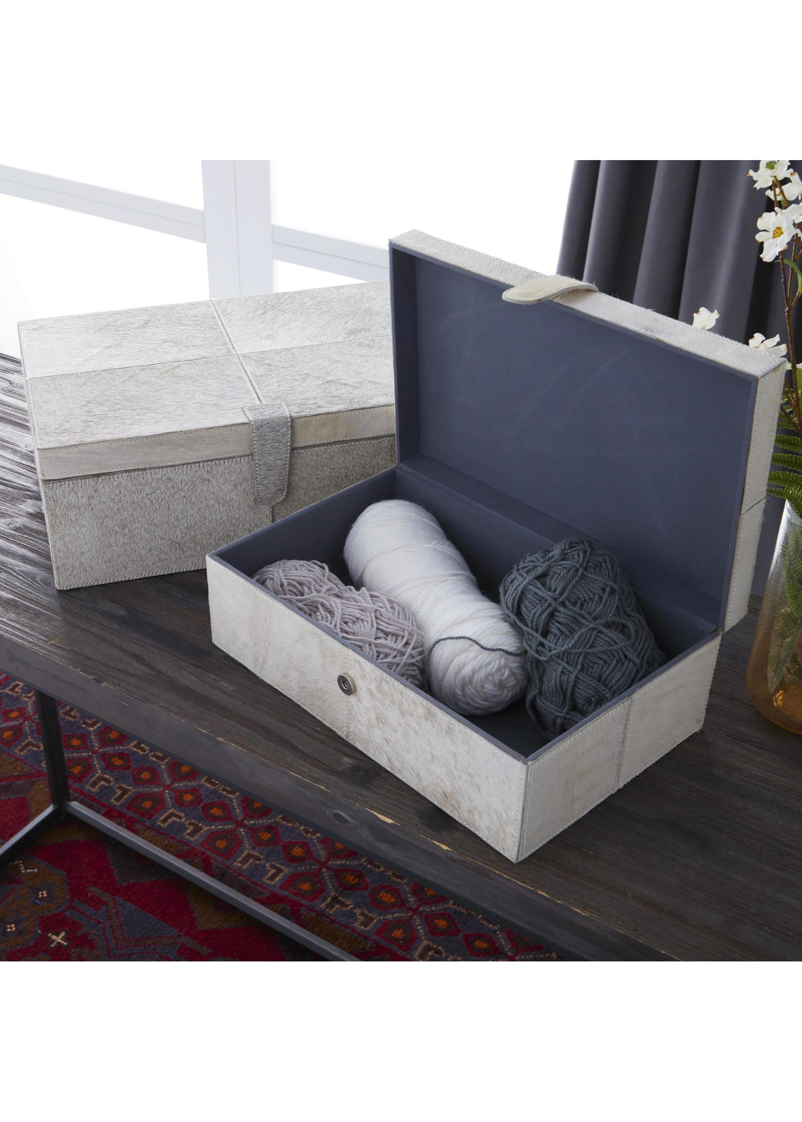UMA Enterprises Wood Grey Leather Hide Box - Large