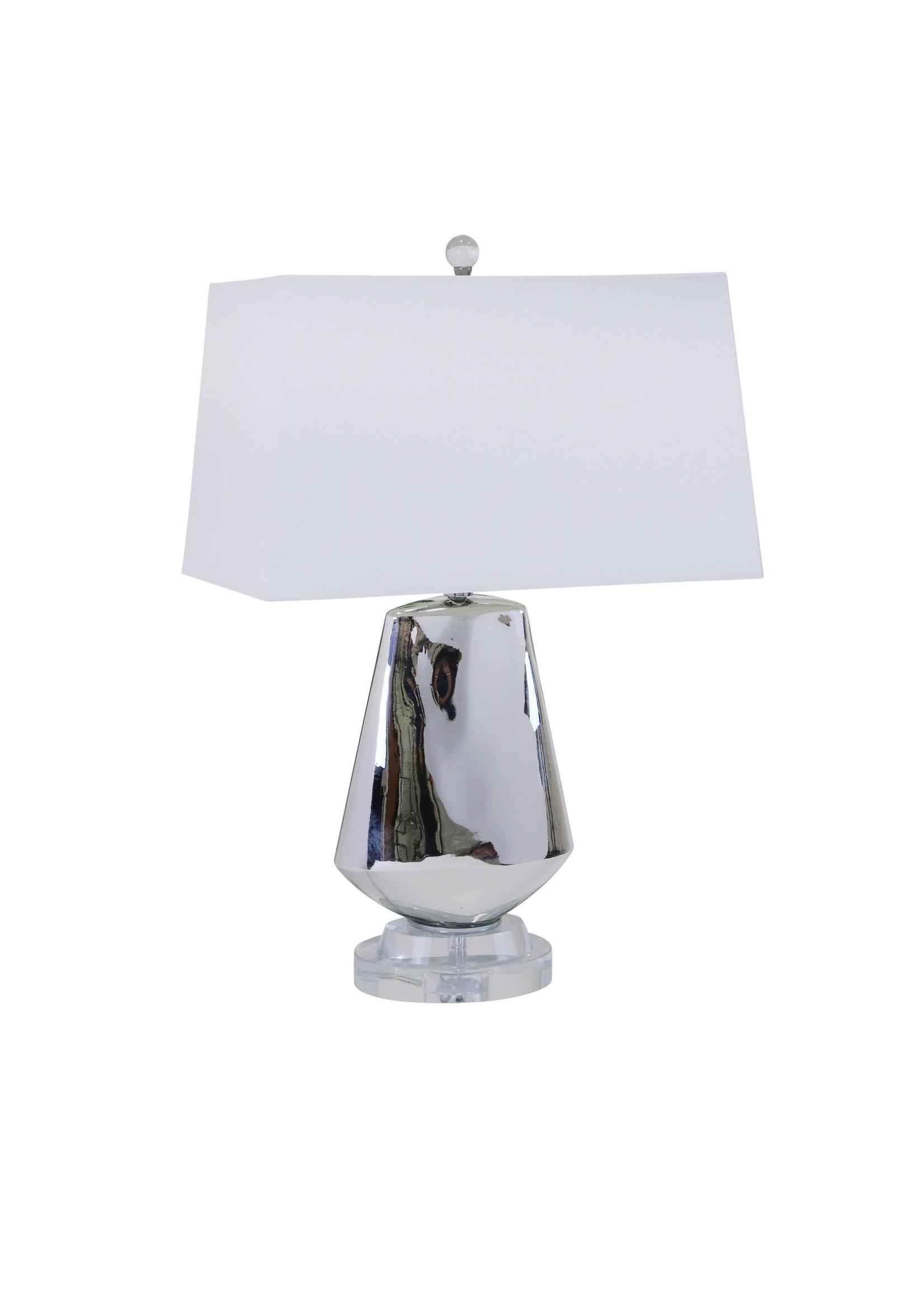 "Sagebrook Home SBH Diamond Shape Table Lamp Silver 26"""