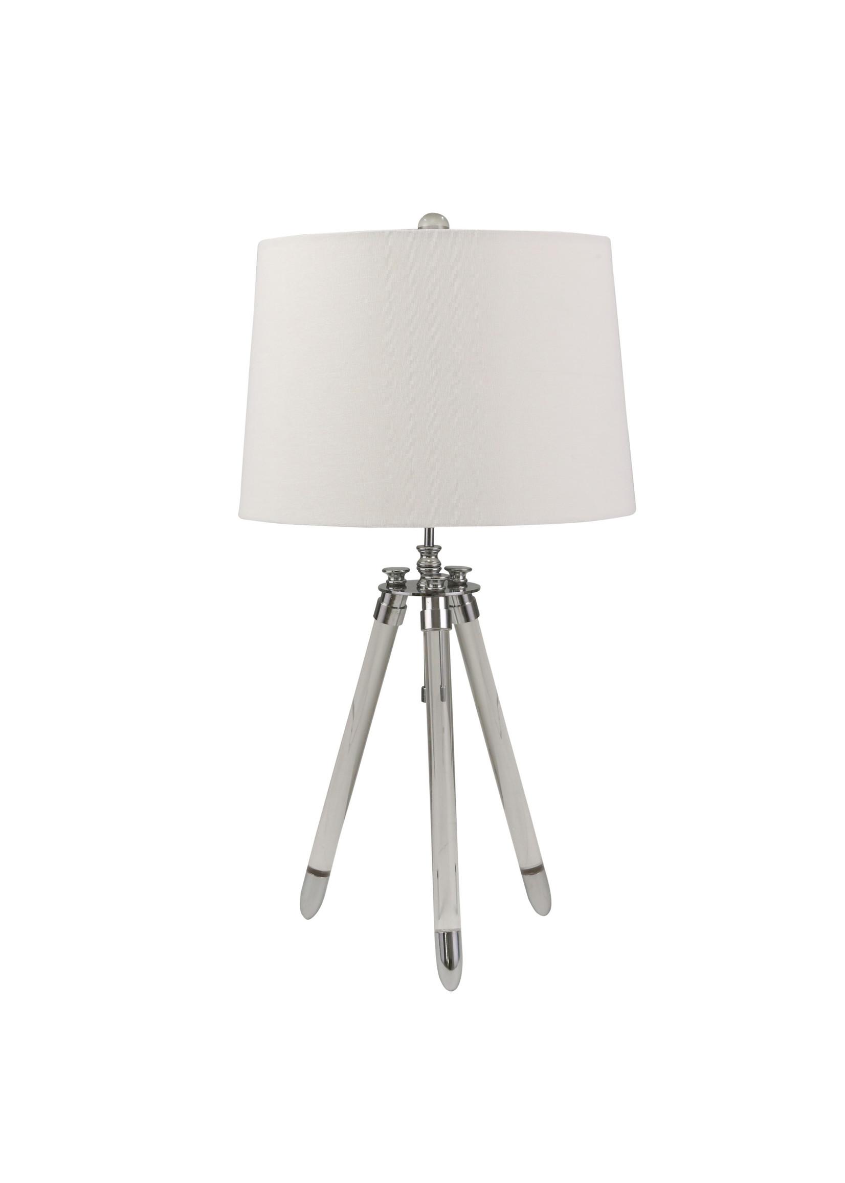 "Sagebrook Home SBH Acrylic 29"" Tripod Table Lamp Silver"