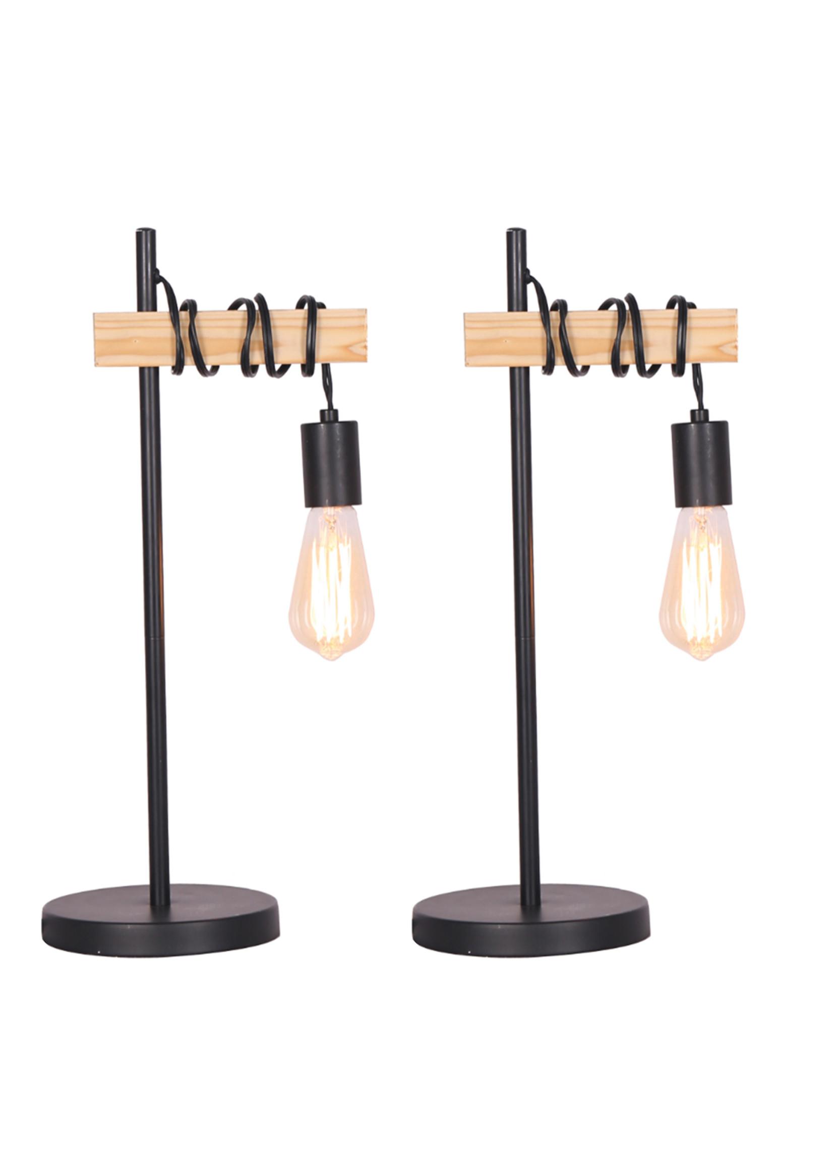 "Sagebrook Home Metal Wood Table Lamp Black 18"""