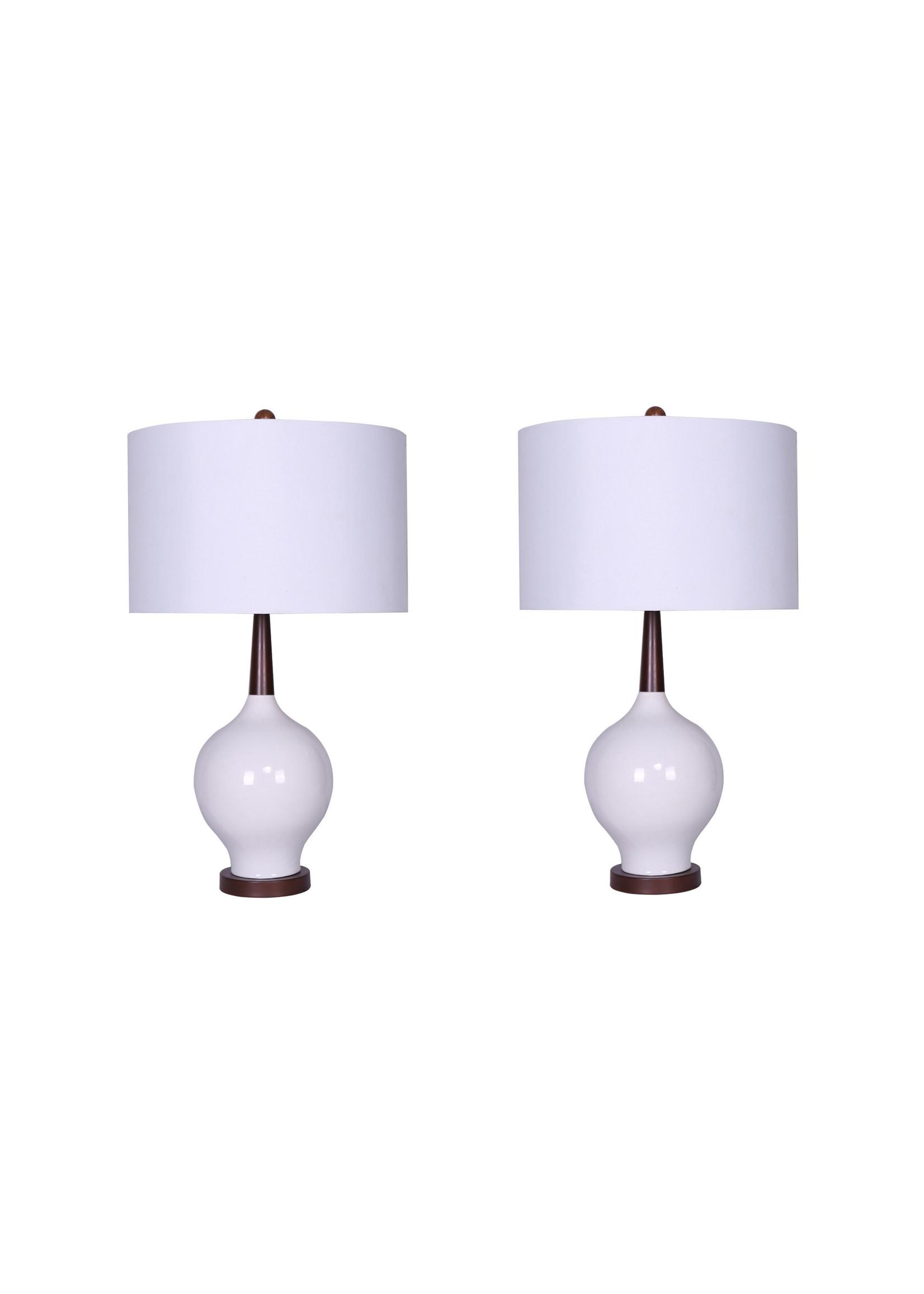 "Sagebrook Home Ceramic Table Lamp White 27.5"""