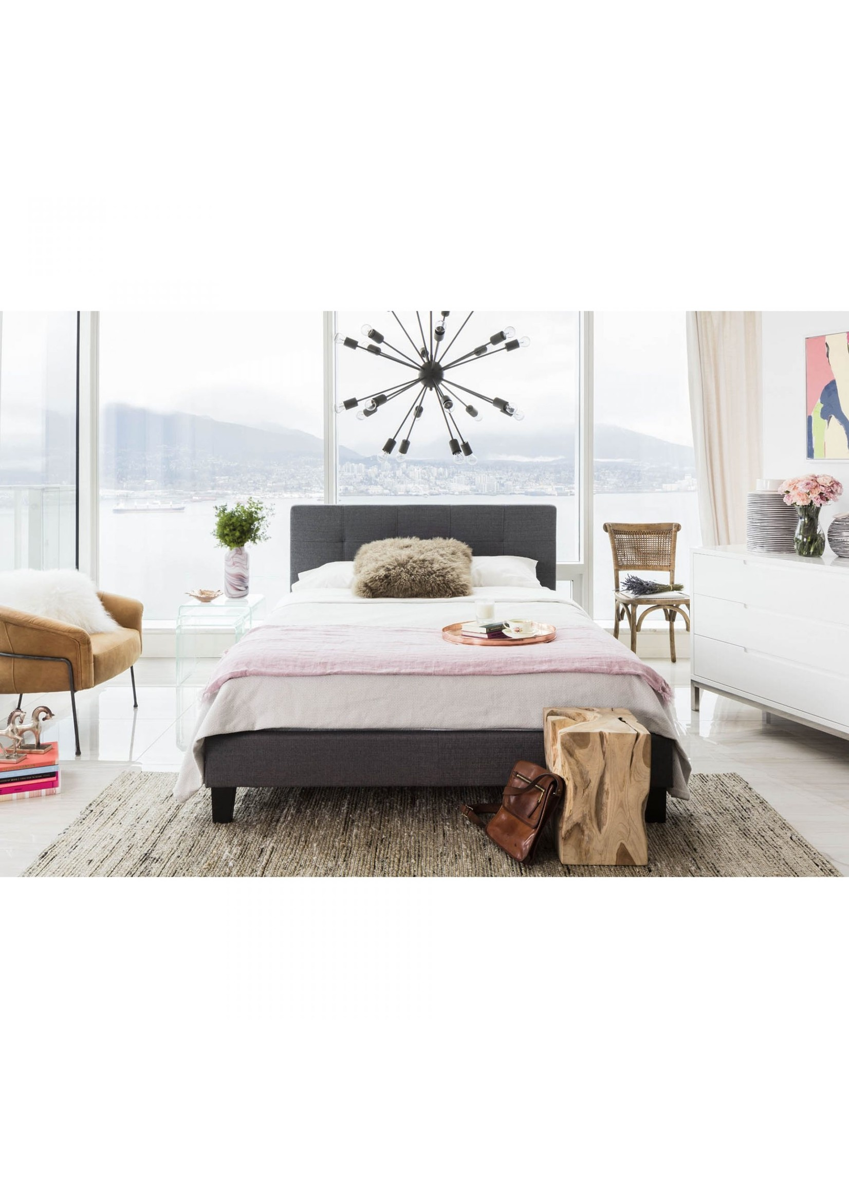 Moes Home Collection Eliza Queen Bed Dark Grey Fabric by MOES