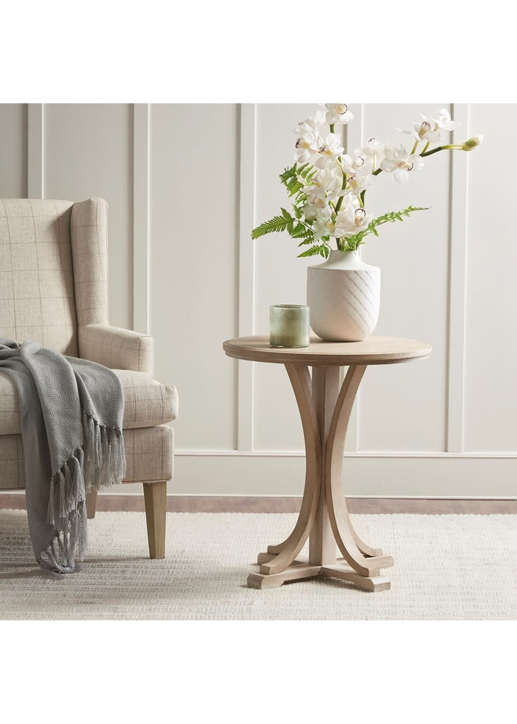 Olliix Fatima Round Accent Table Reclaimed Wood
