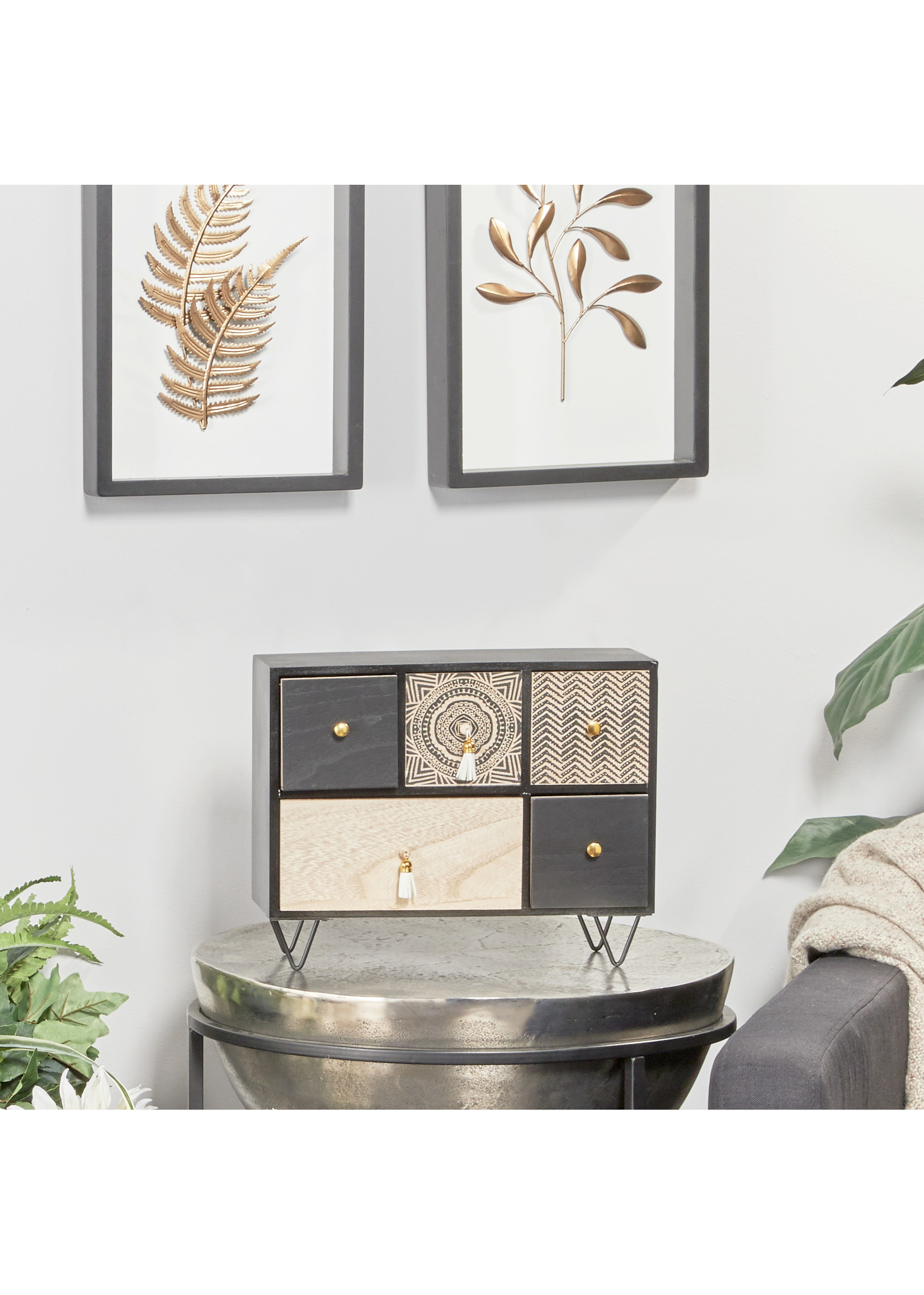 UMA Enterprises Wood Jewellery Box Black
