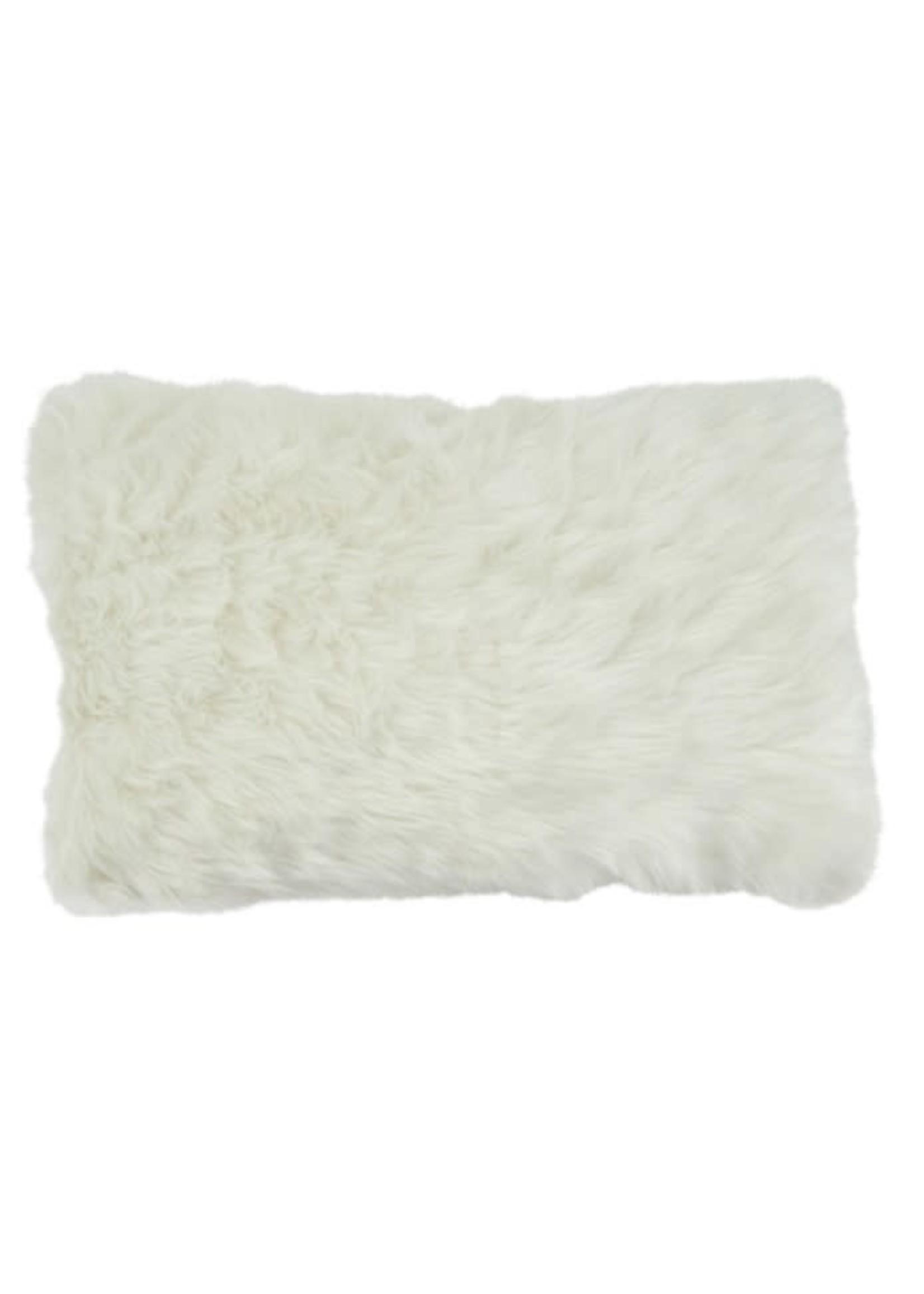 Saro SARO Faux Fur Pillow White