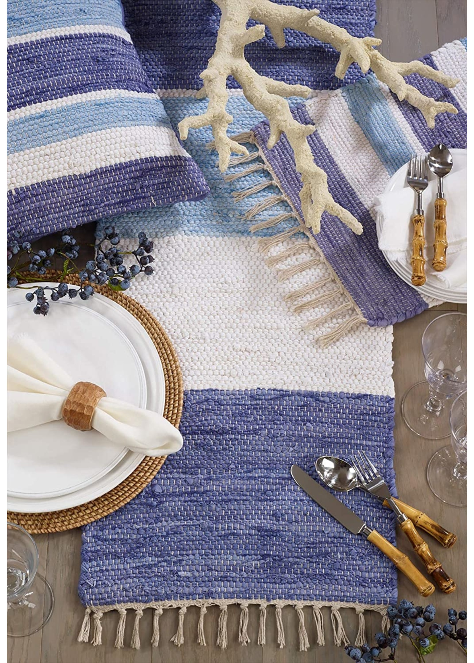Saro SARO Striped Chindi Runner - Multi Blue