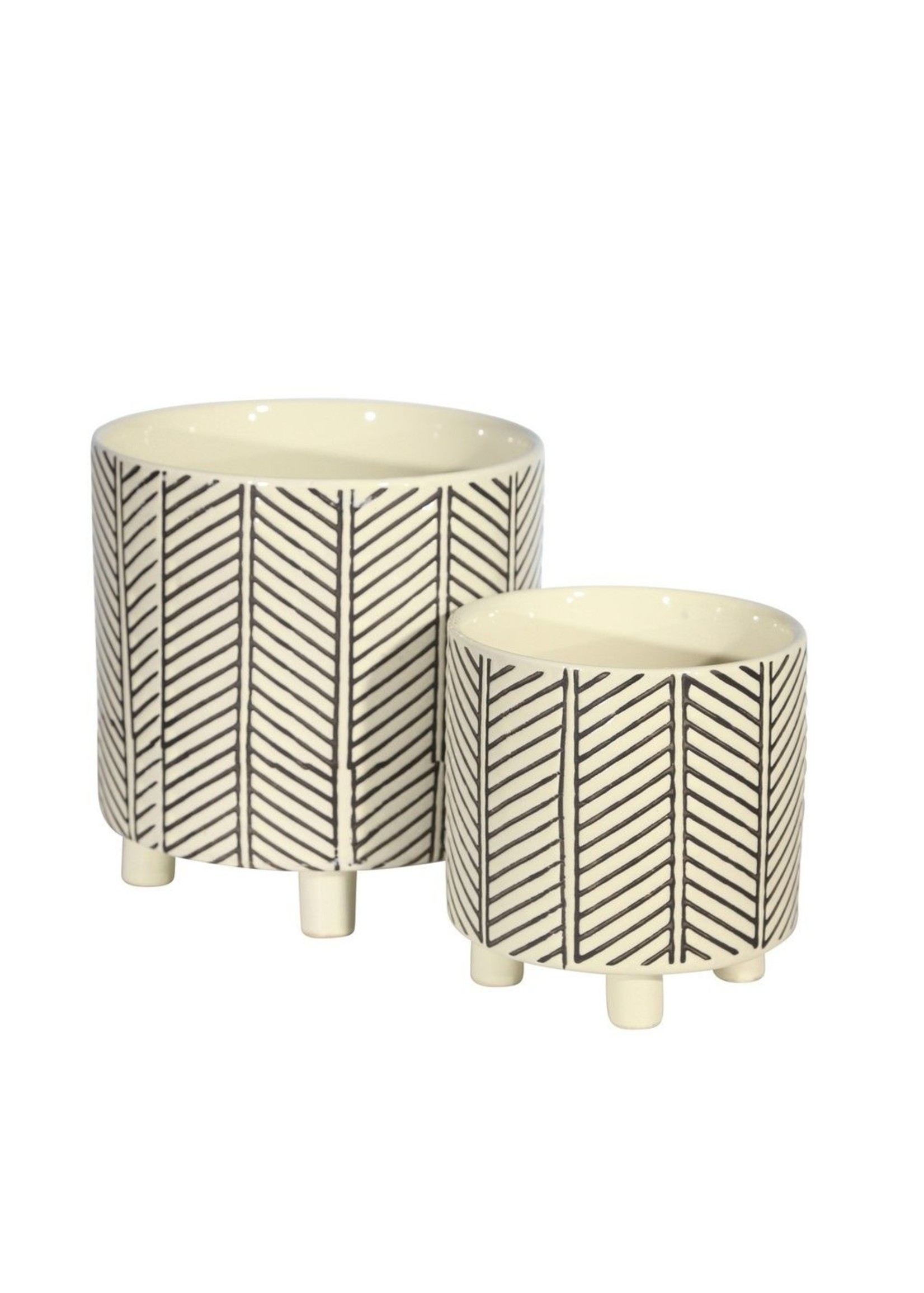 Sagebrook Home Footed Planters Abstract White Large