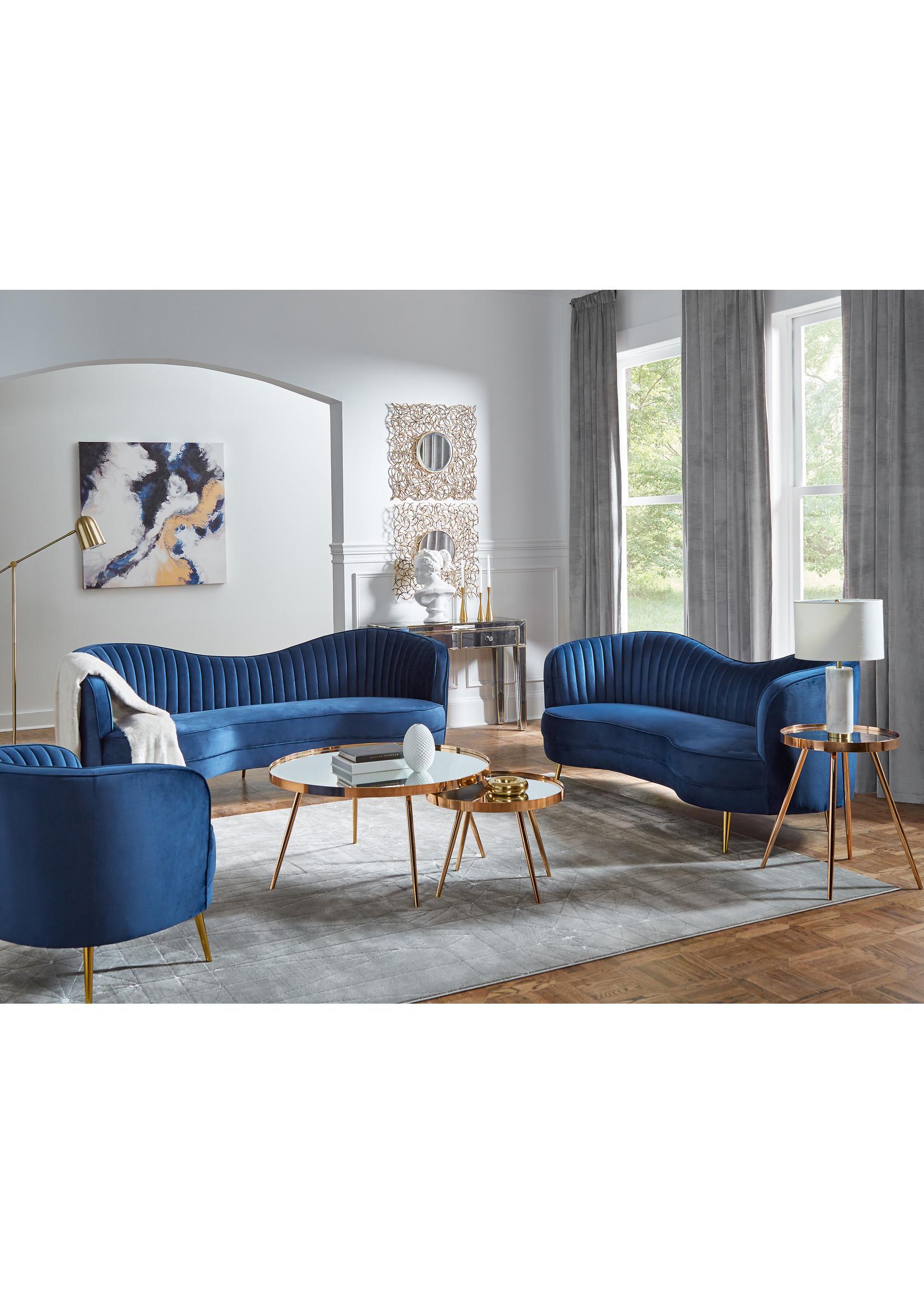 Coaster Furniture Sophia Sofa in Blue Velvet by Coaster