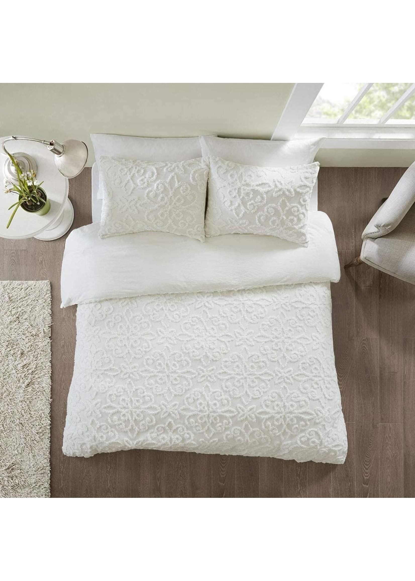 Olliix Madison Park Sabrina 3-Piece Duvet Cover Set - Ivory,  King
